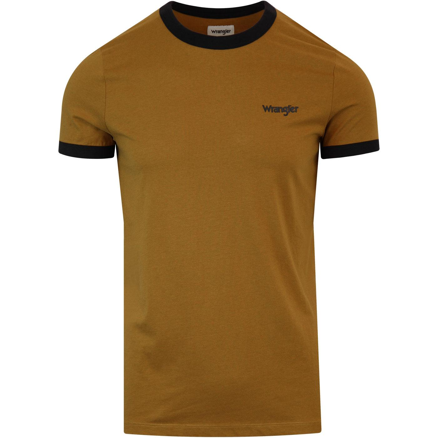 WRANGLER Retro 1970s Ringer T-shirt (Golden Brown)