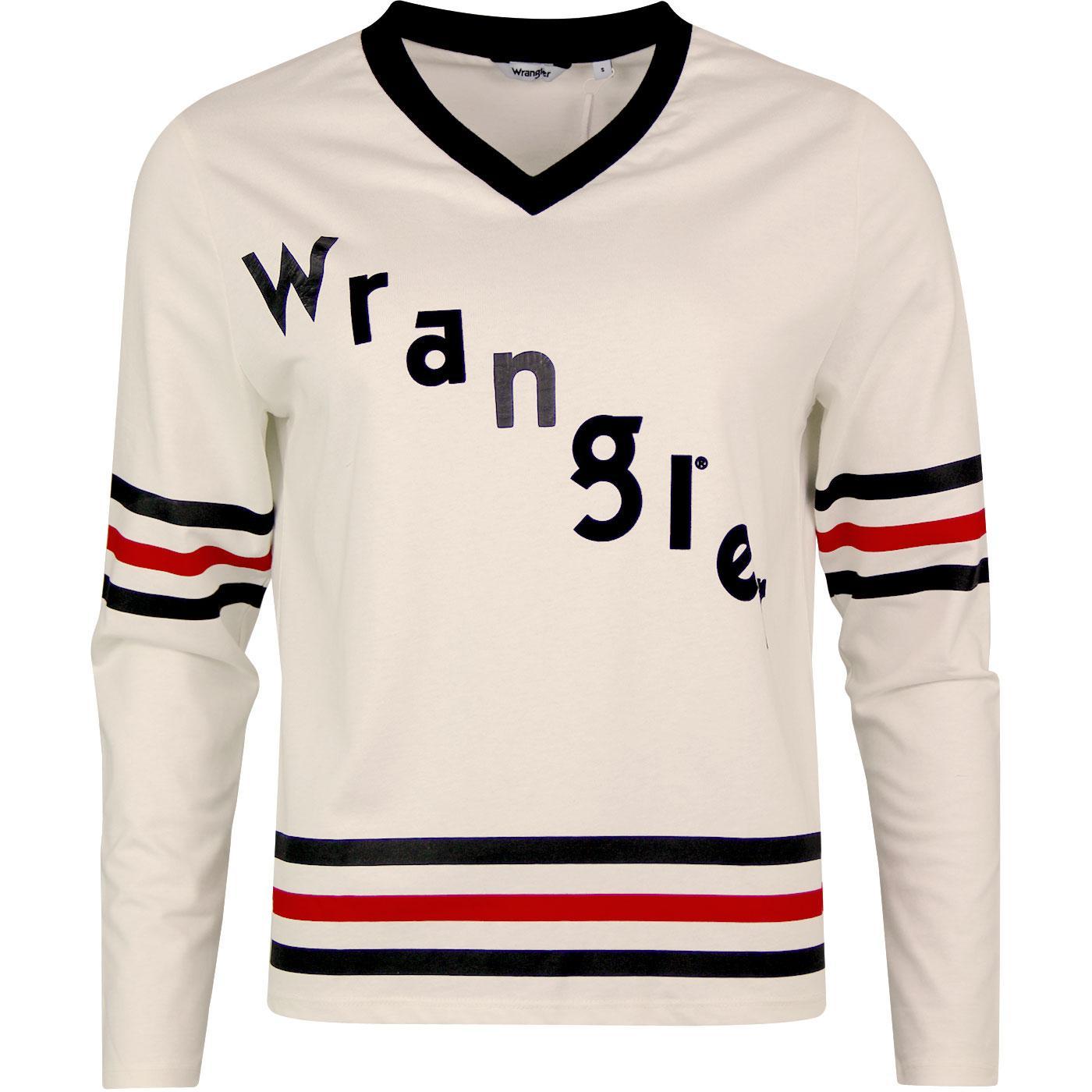 WRANGLER Women's Retro 70s V-Neck 47 Tee (Egret)