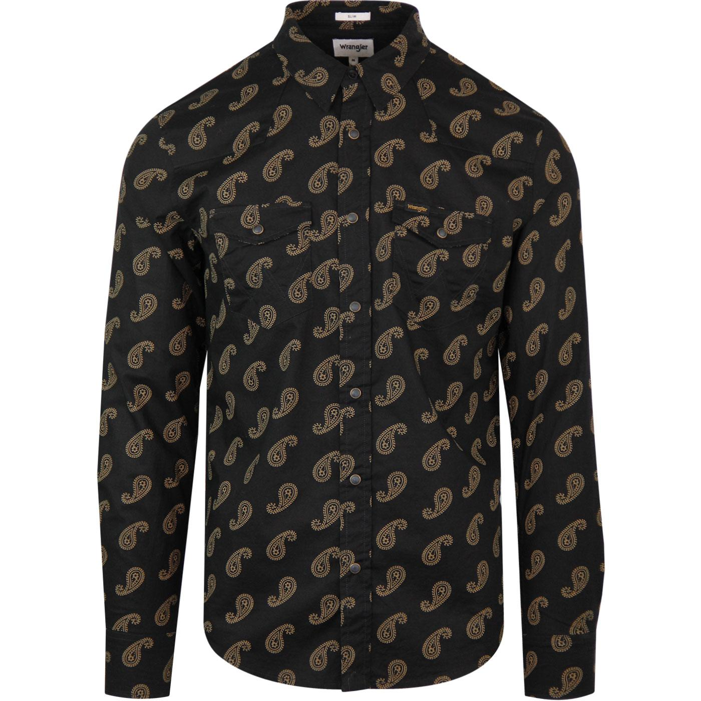 Paisley WRANGLER Retro Western Shirt In Black