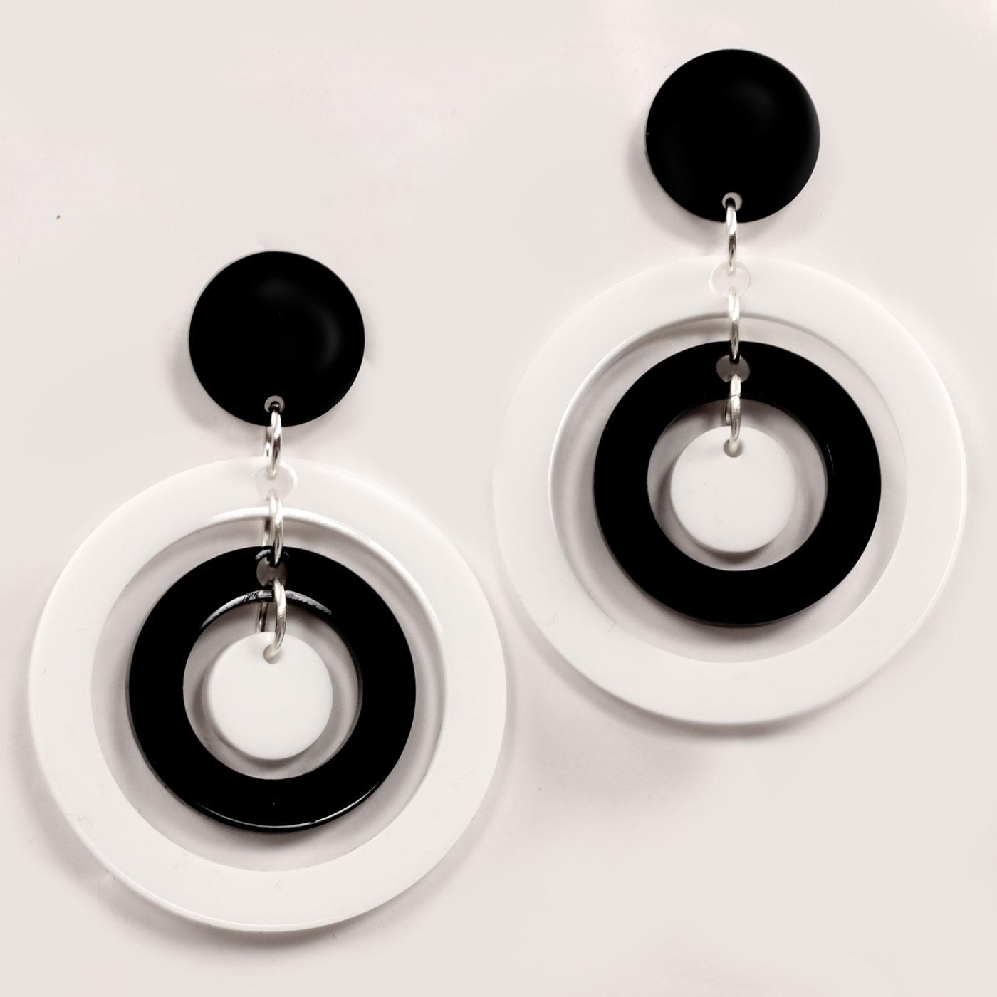 Ada Binks for Madcap England 60s Mod Concentric Circles Earrings in white