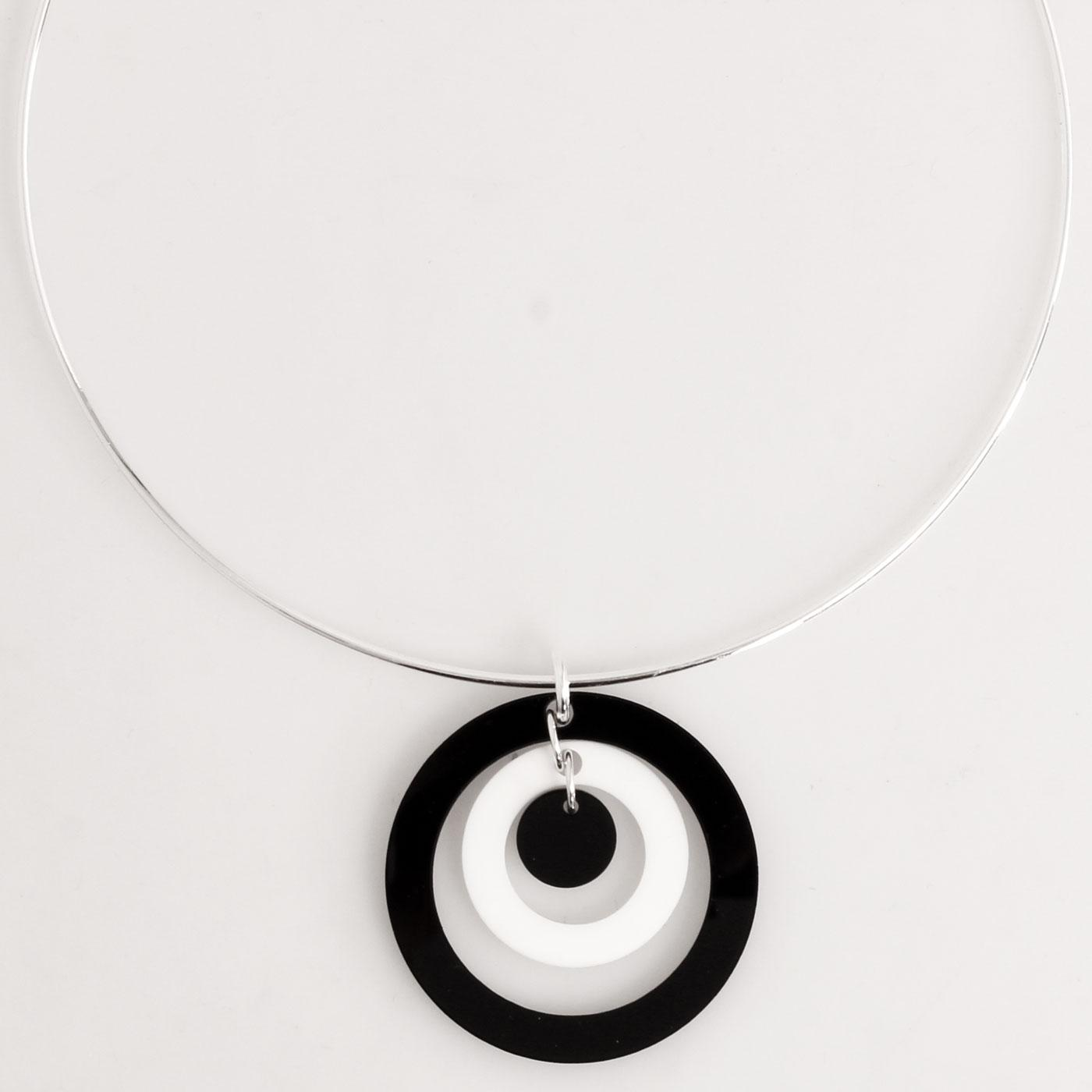 Ada Binks for Madcap England 60s Mod Concentric Circles Choker Necklace in Black