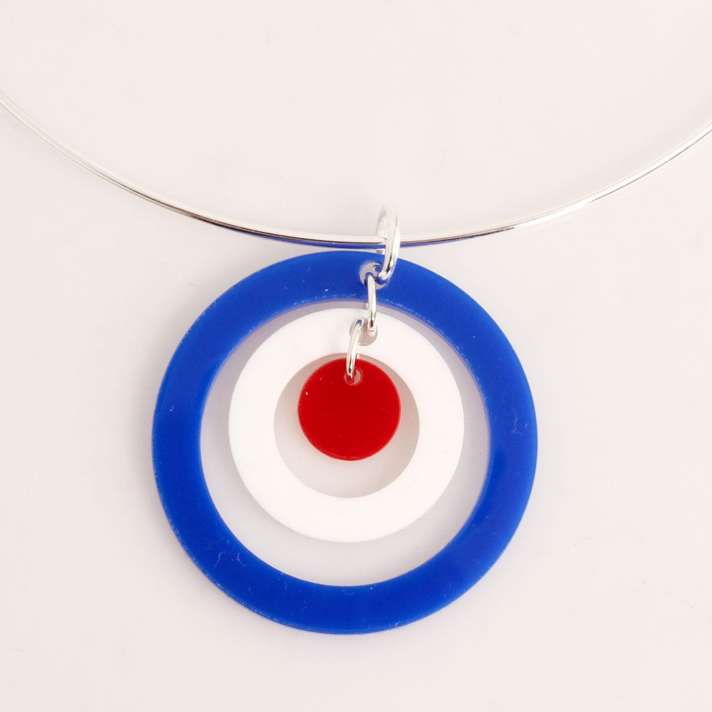 Ada Binks for Madcap England 60s Mod Concentric Circles Choker Necklace in Red/White/Blue
