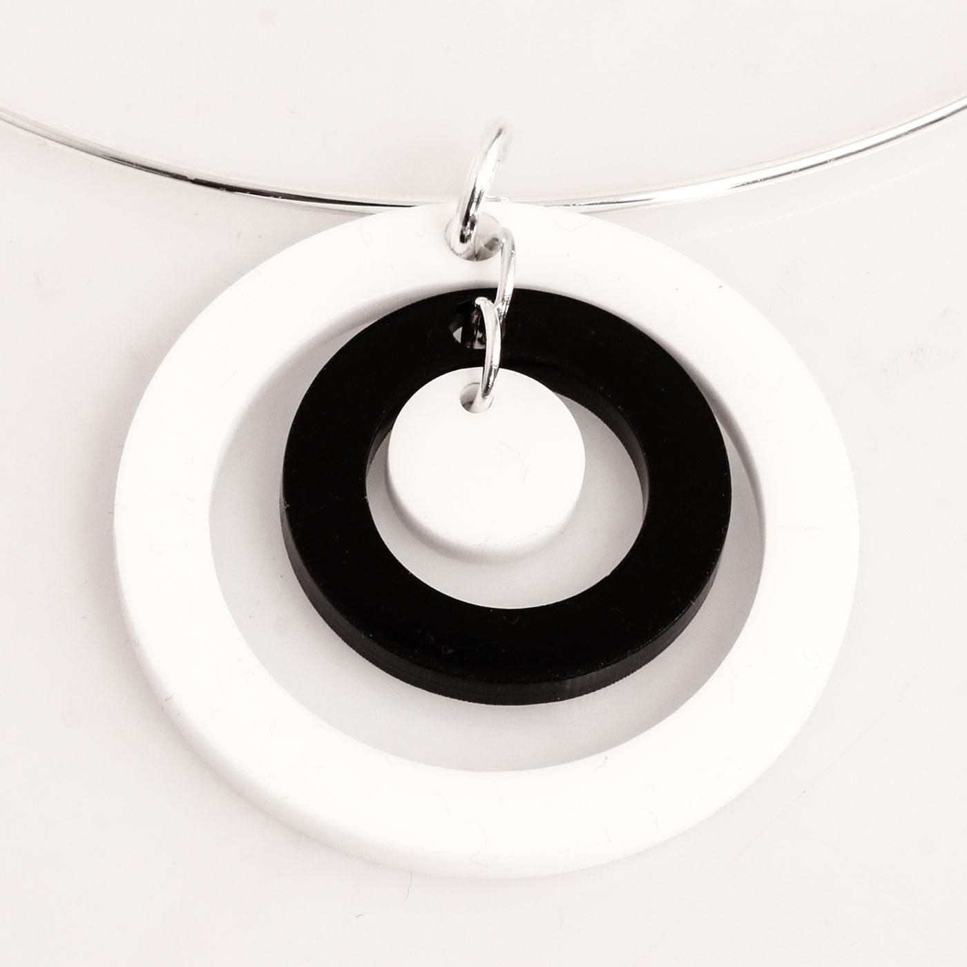 Ada Binks for Madcap England 60s Mod Concentric Circles Choker Necklace in White