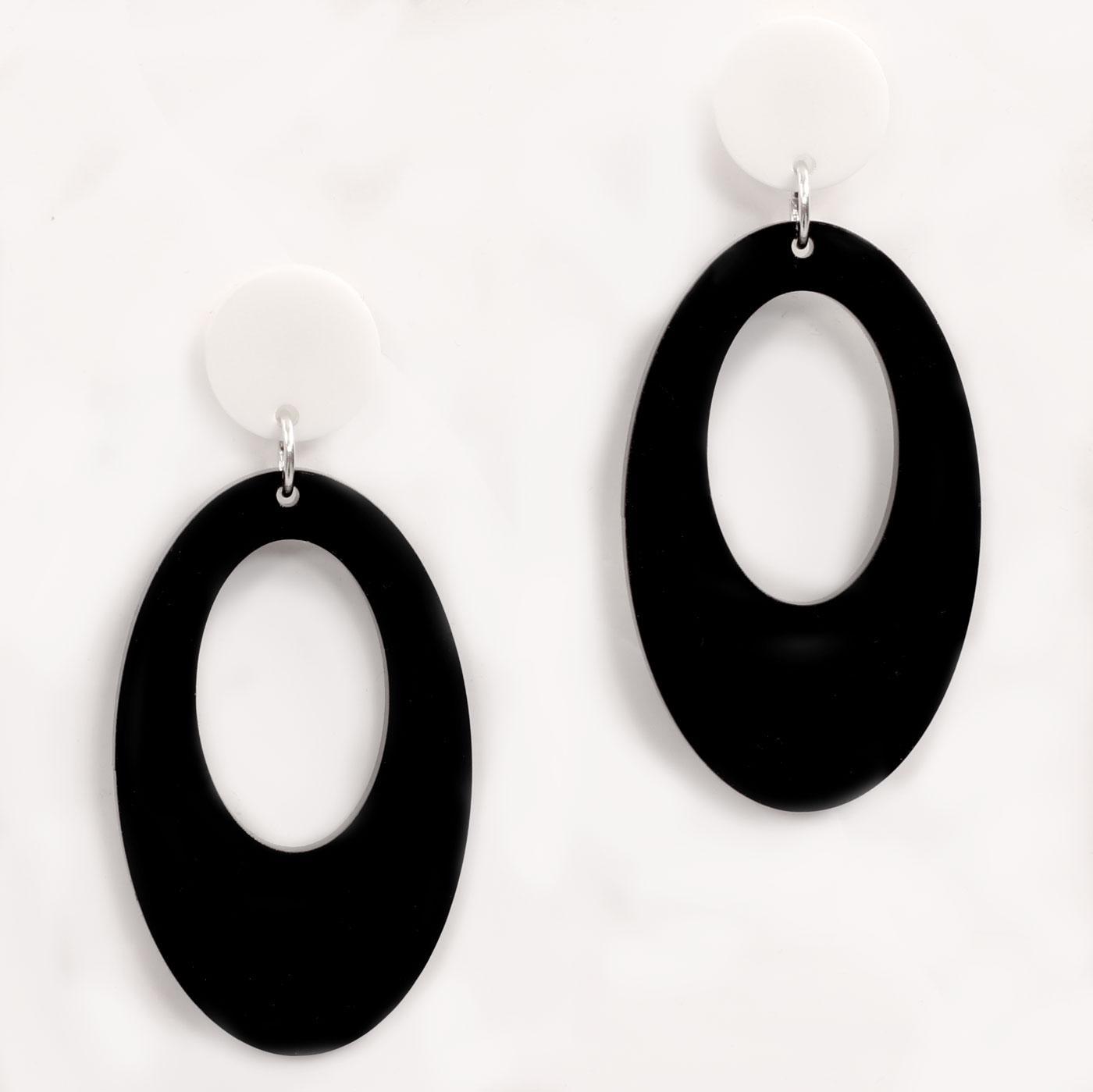 Ada Binks for Madcap England 60s Mod Oval Earrings in black