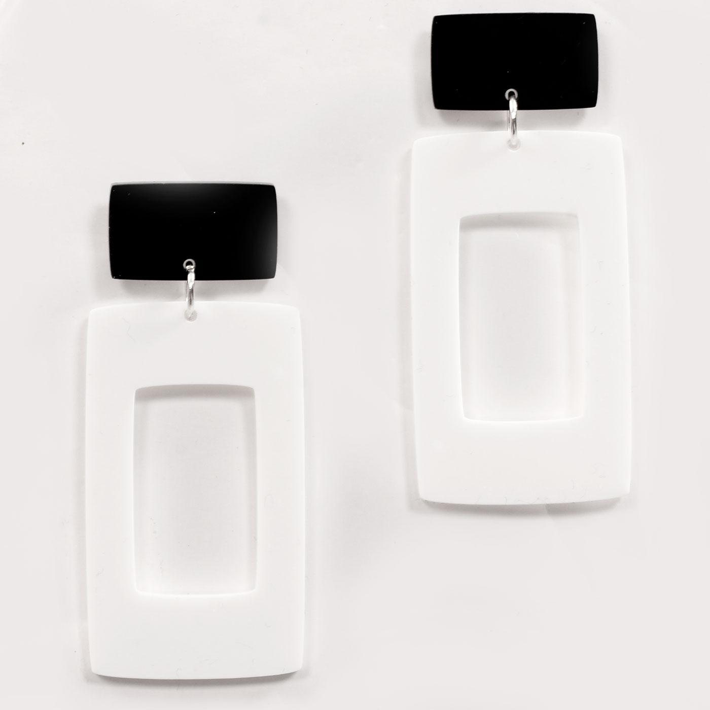 Ada Binks for Madcap England 60s Mod Rectangle Earrings in White