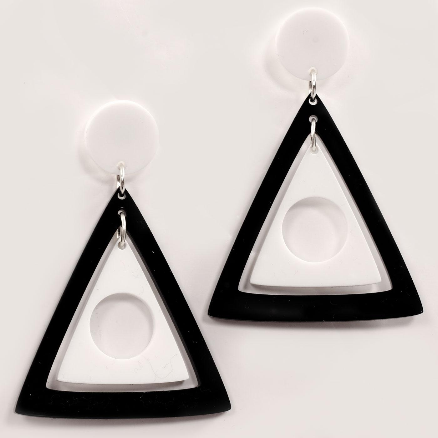 Ada Binks for Madcap England 60s Mod Concentric Triangles Earrings in Black
