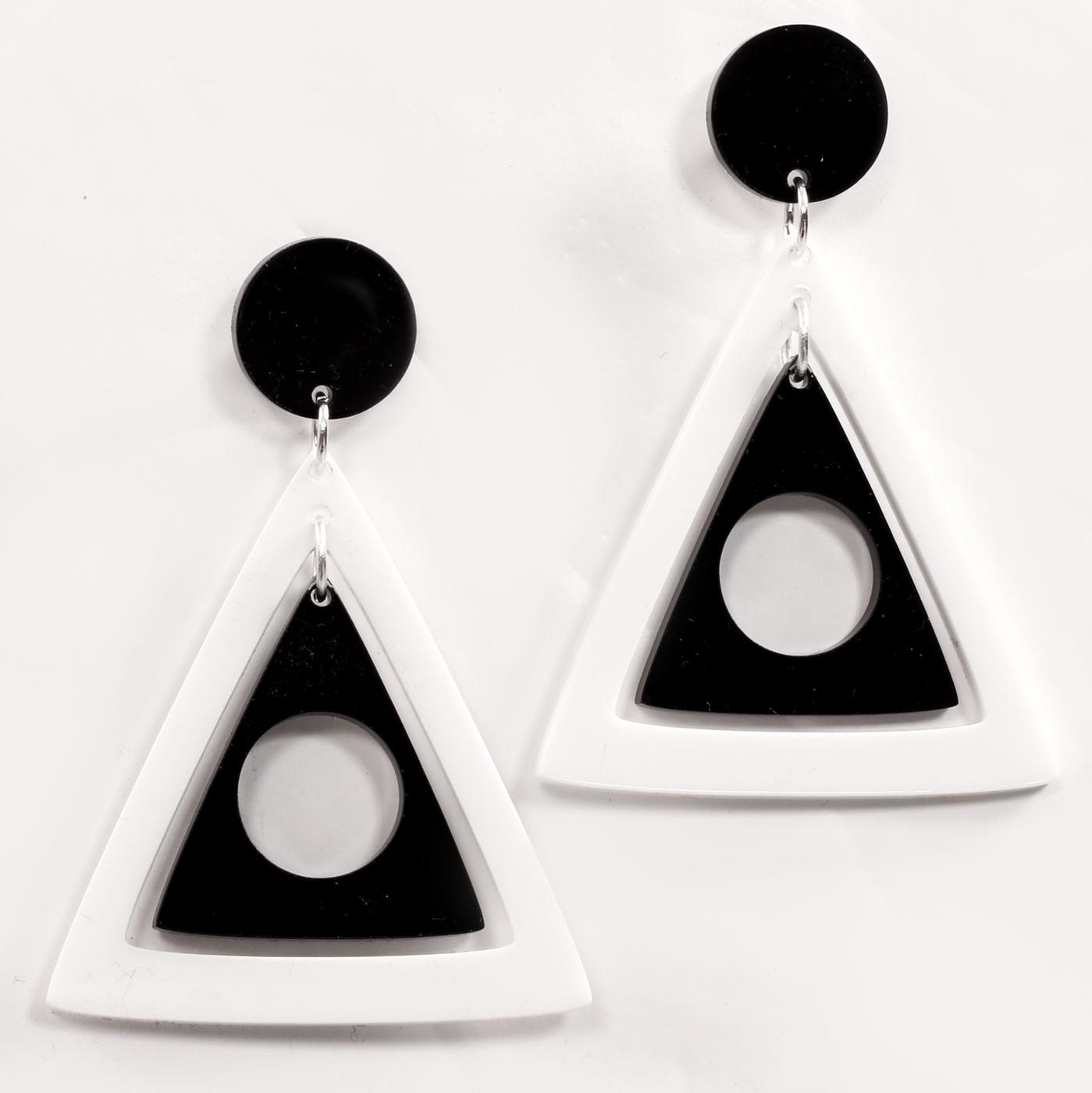 Ada Binks for Madcap England 60s Mod Concentric Triangles Earrings in white