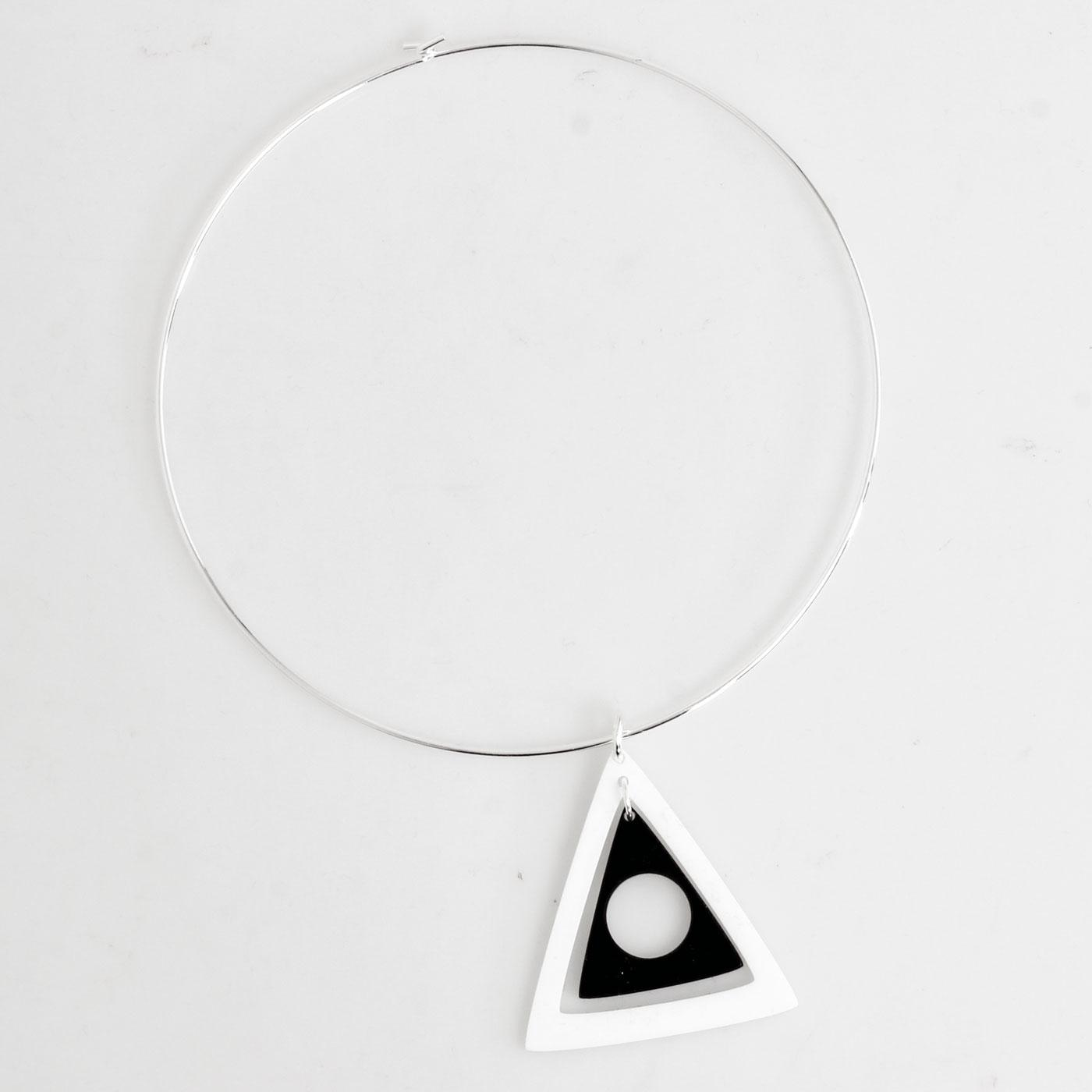 Ada Binks for Madcap England 60s Mod Concentric Triangles Choker Necklace in White