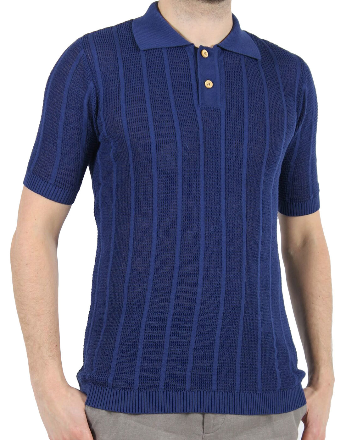 Aaron AFIELD Mens Retro 60s Knitted Crepe Polo N
