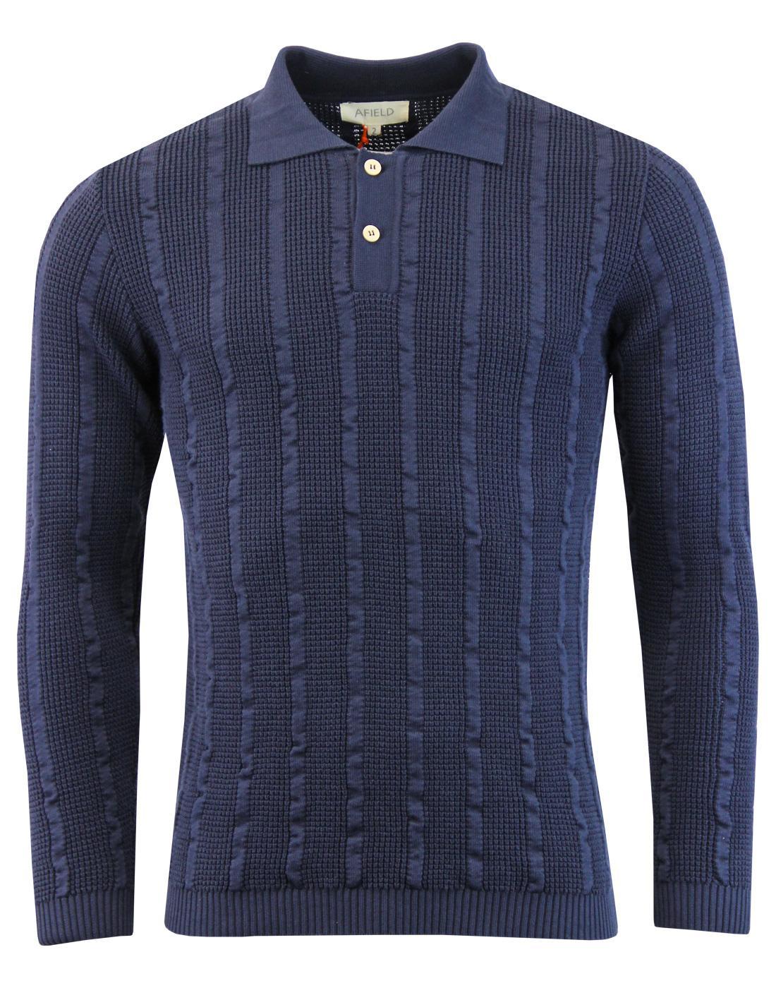 Aaron AFIELD 60s Mod Waffle Stripe Knitted Polo N