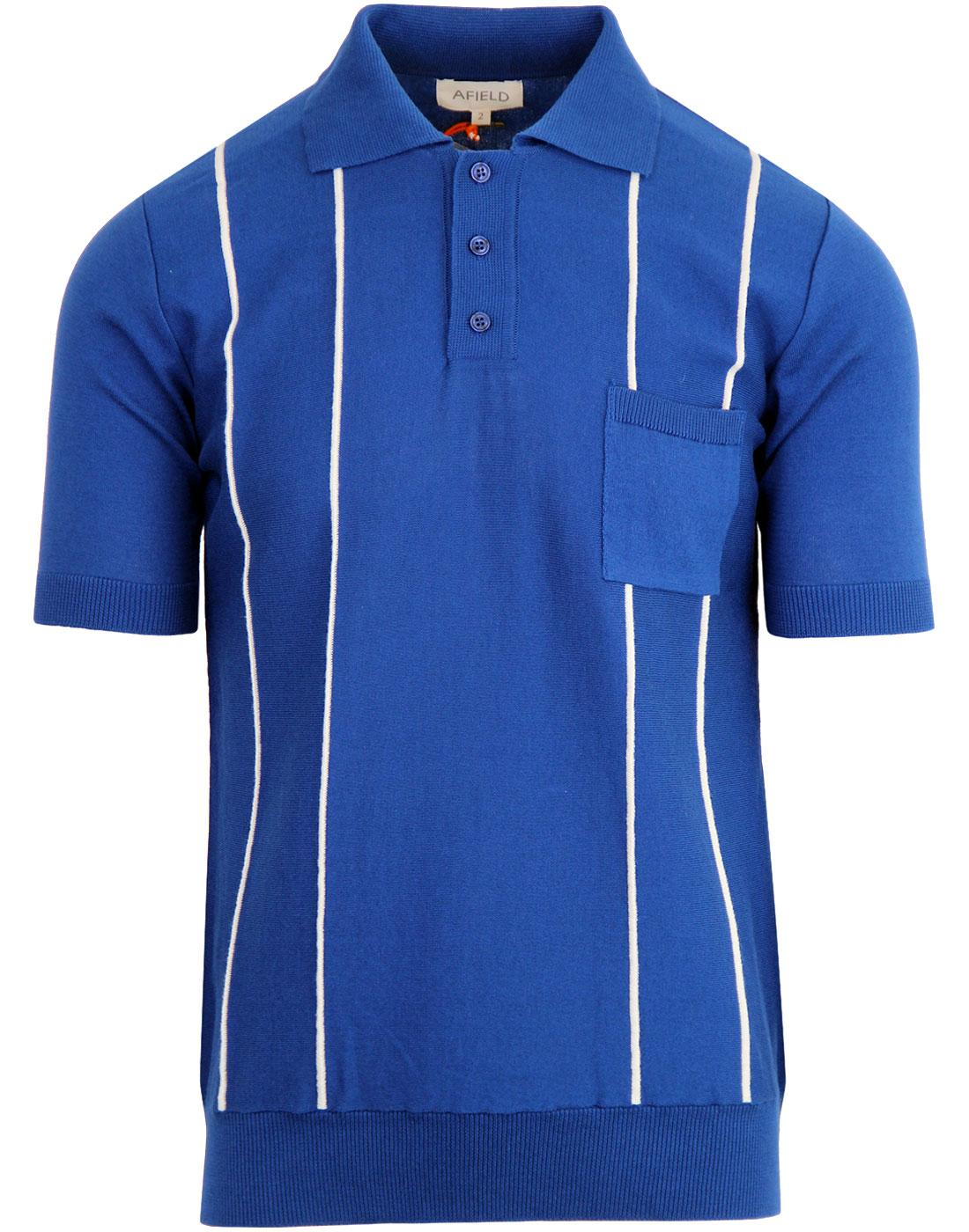 Alfaro AFIELD Men's Mod Stripe Knitted Polo BLUE
