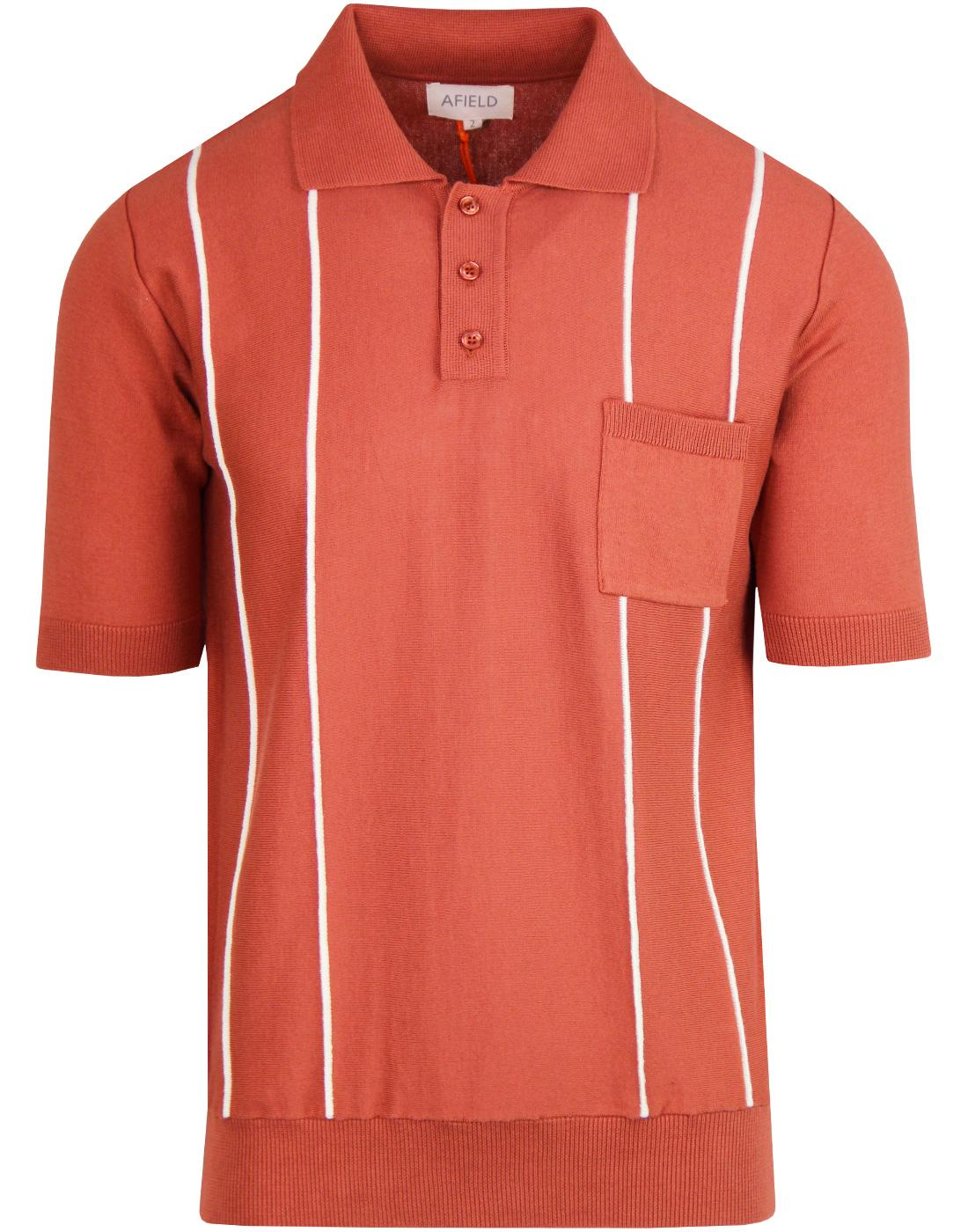 Alfaro AFIELD Mod Stripe Knit Polo Top BRUSCHETTA