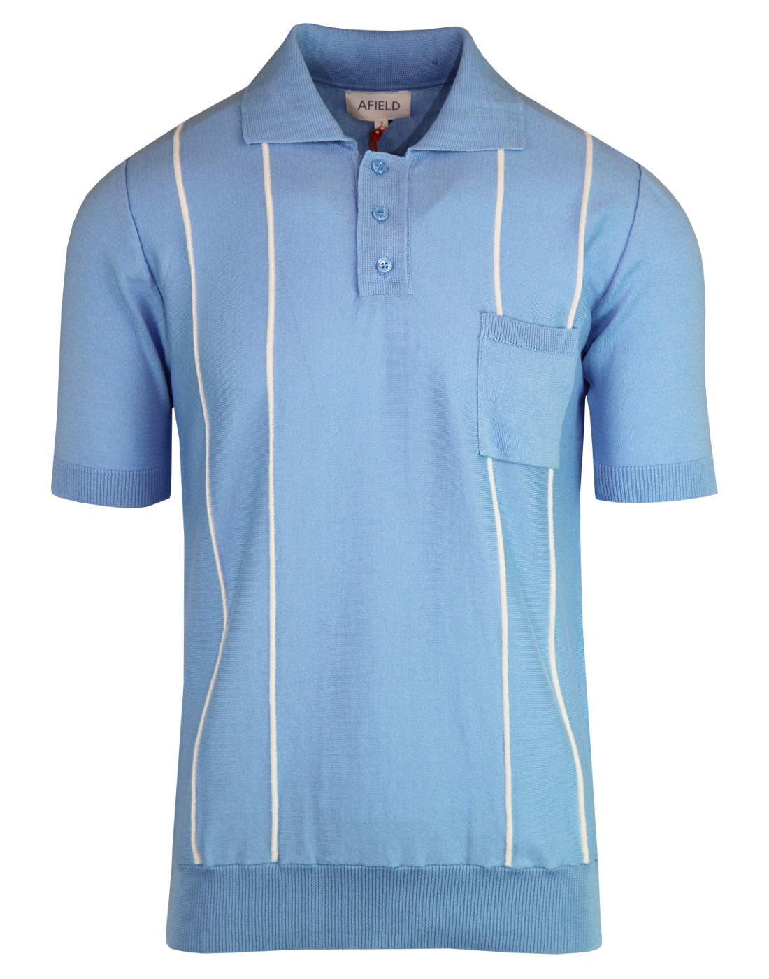 Alfaro AFIELD 60s Mod Raised Stripe Knit Polo Top