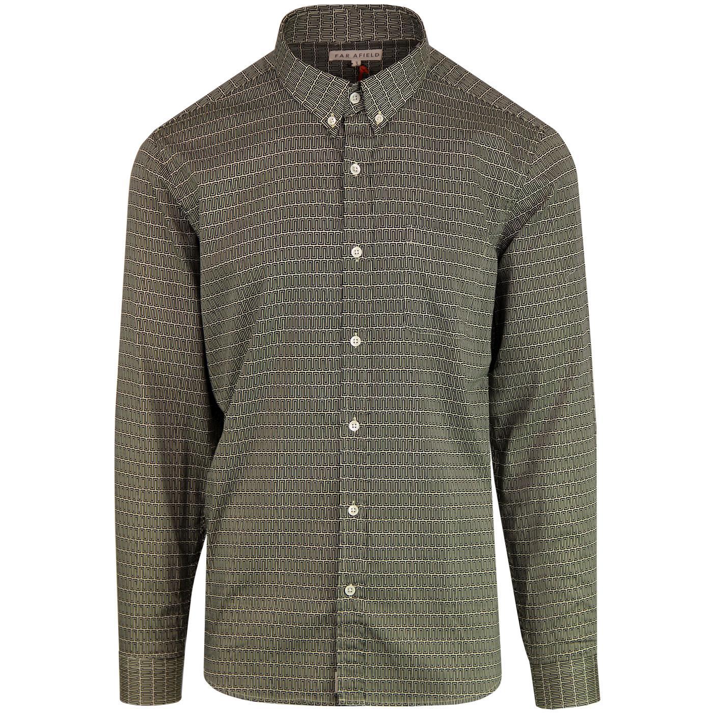 FAR AFIELD Op Art Geometric Button Down Mod Shirt