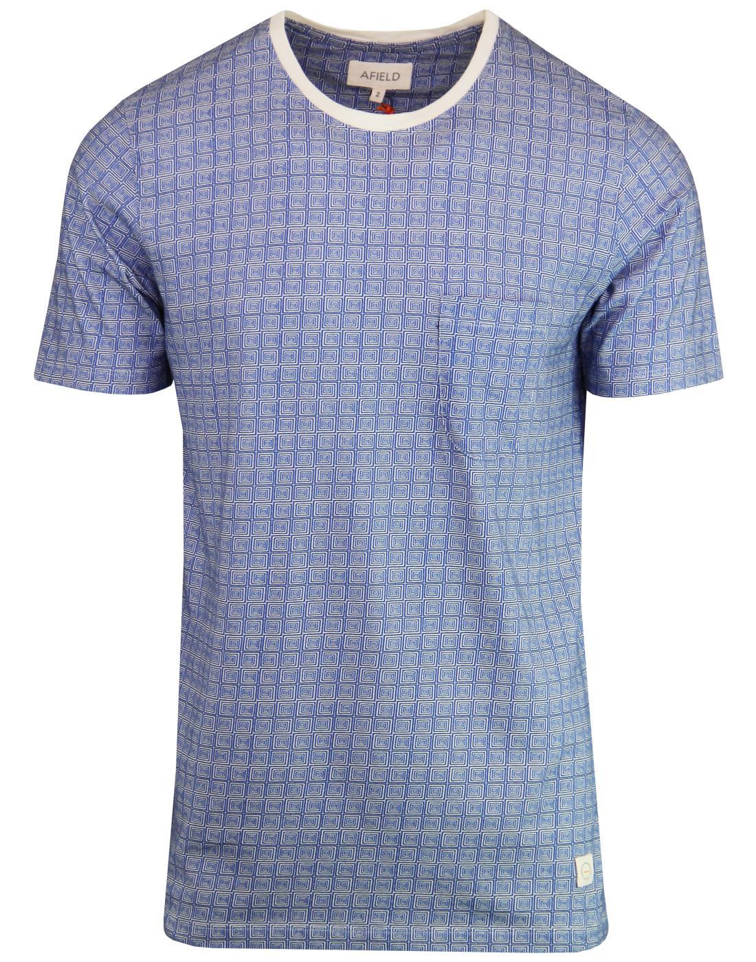 AFIELD Men's Retro 1970s Geo Spiral Square T-Shirt
