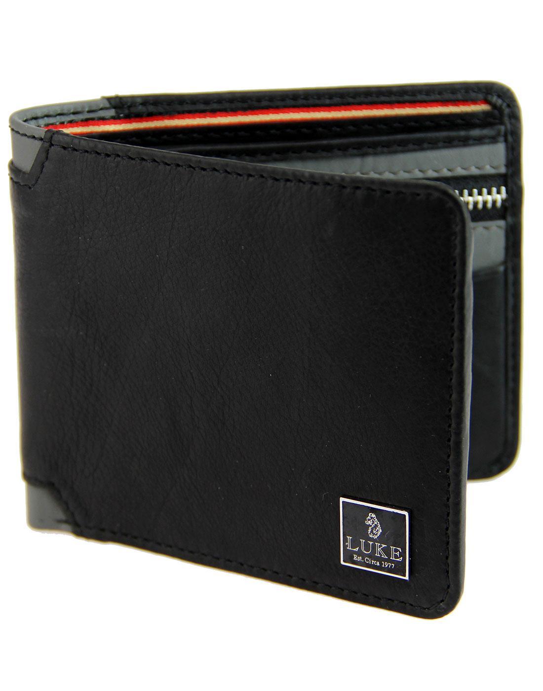Ali LUKE Retro Contrast Trim Leather Wallet BLACK