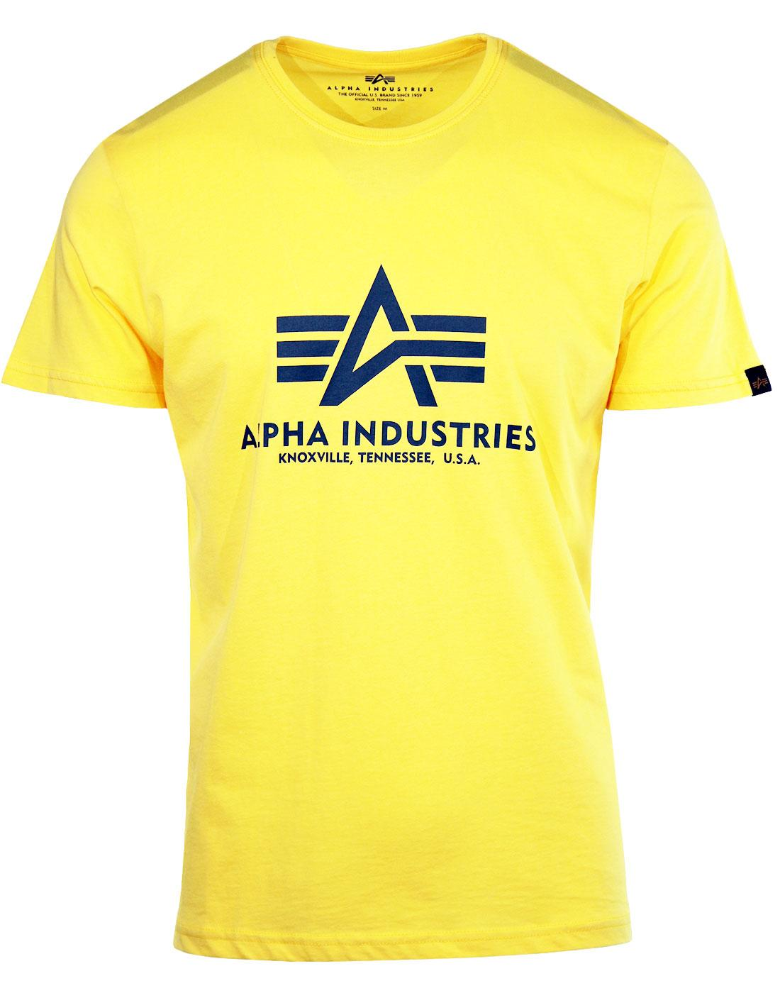 ALPHA INDUSTRIES Men's Retro Basic Logo Tee YELLOW