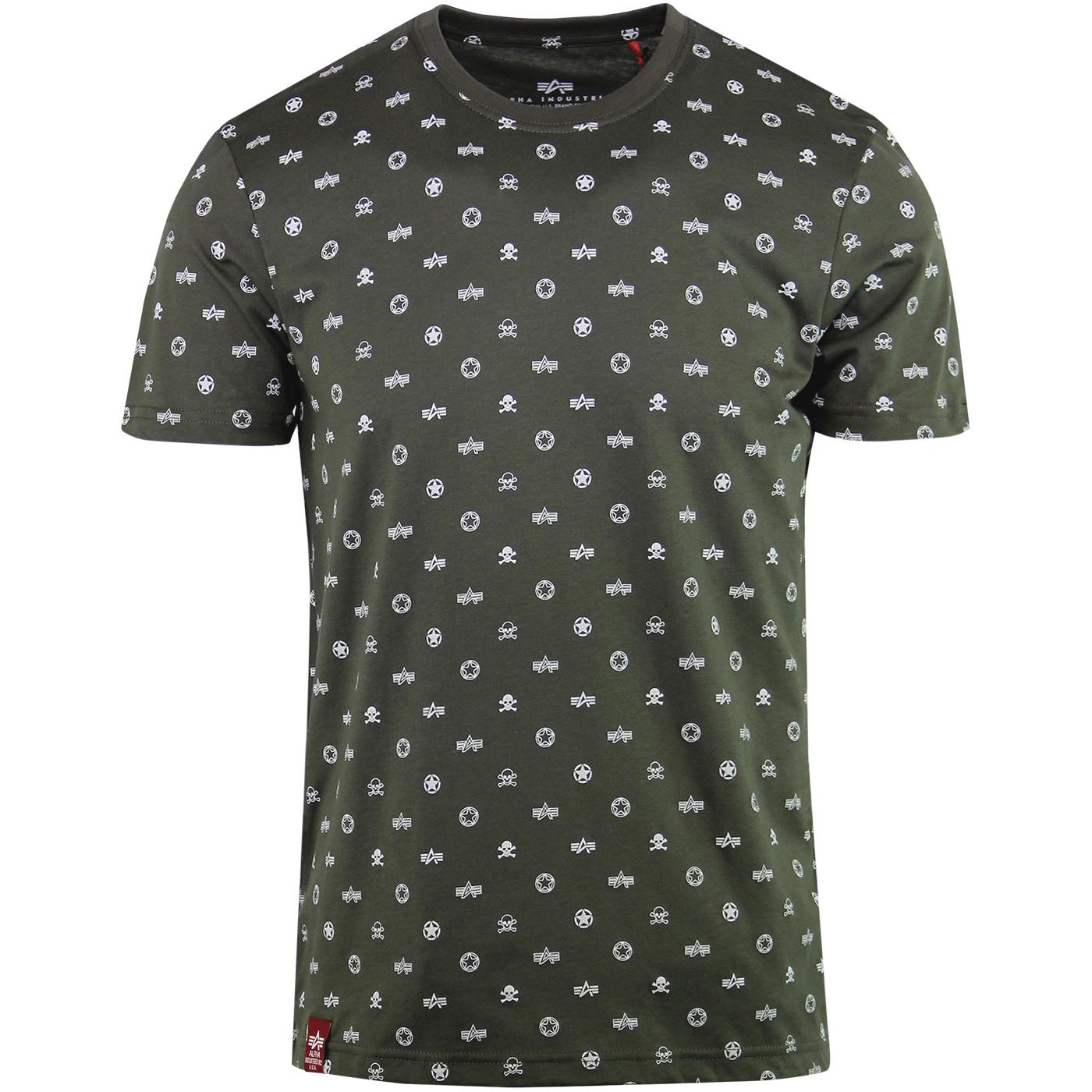 ALPHA INDUSTRIES Retro Military Logo Print Tee (O)