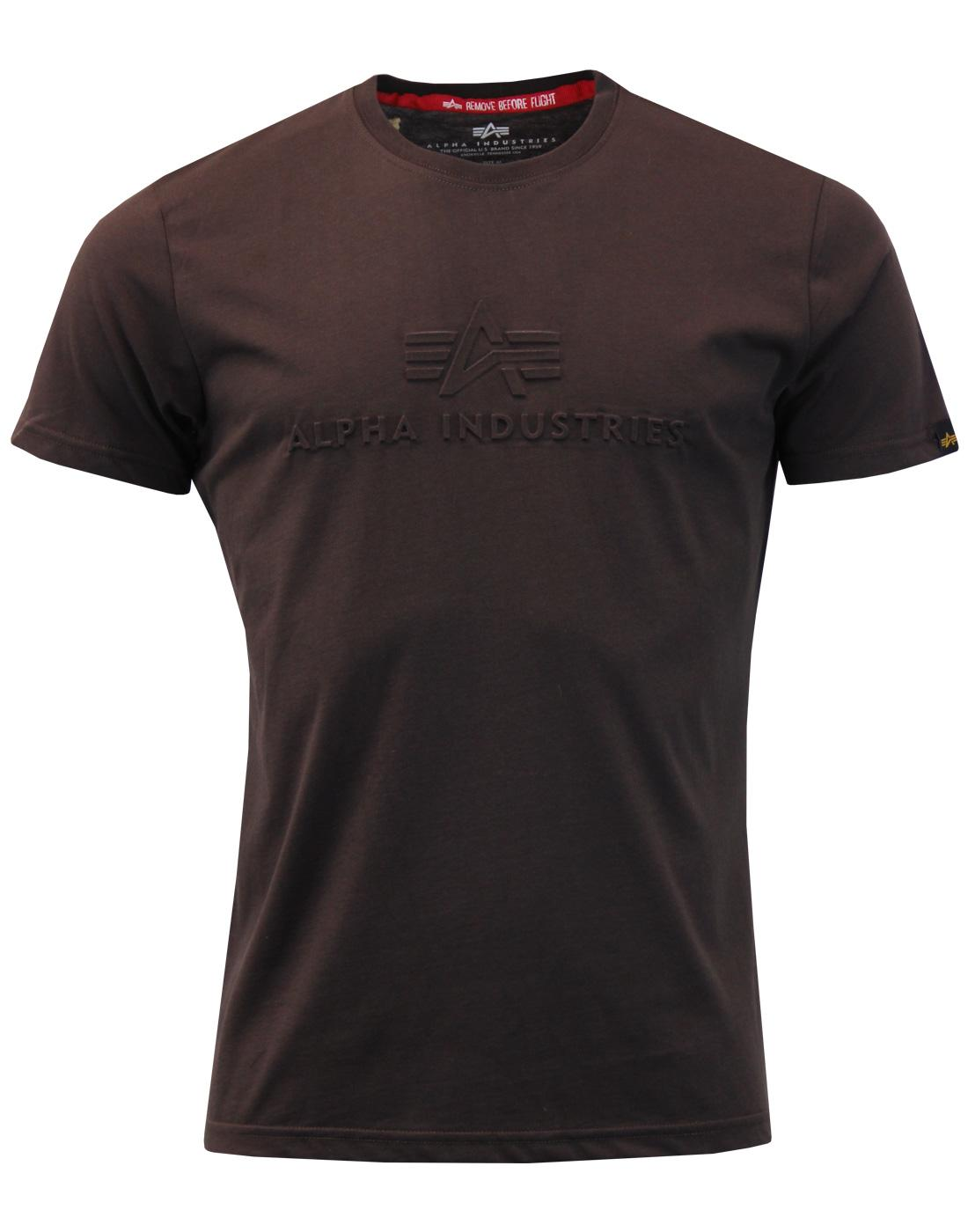 3D ALPHA INDUSTRIES Mens Indie Embossed Logo Tee B