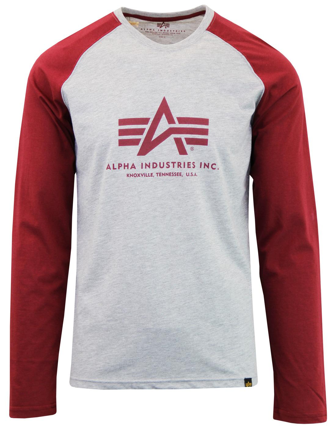 ALPHA INDUSTRIES Men's Retro 70s LS Raglan T-Shirt