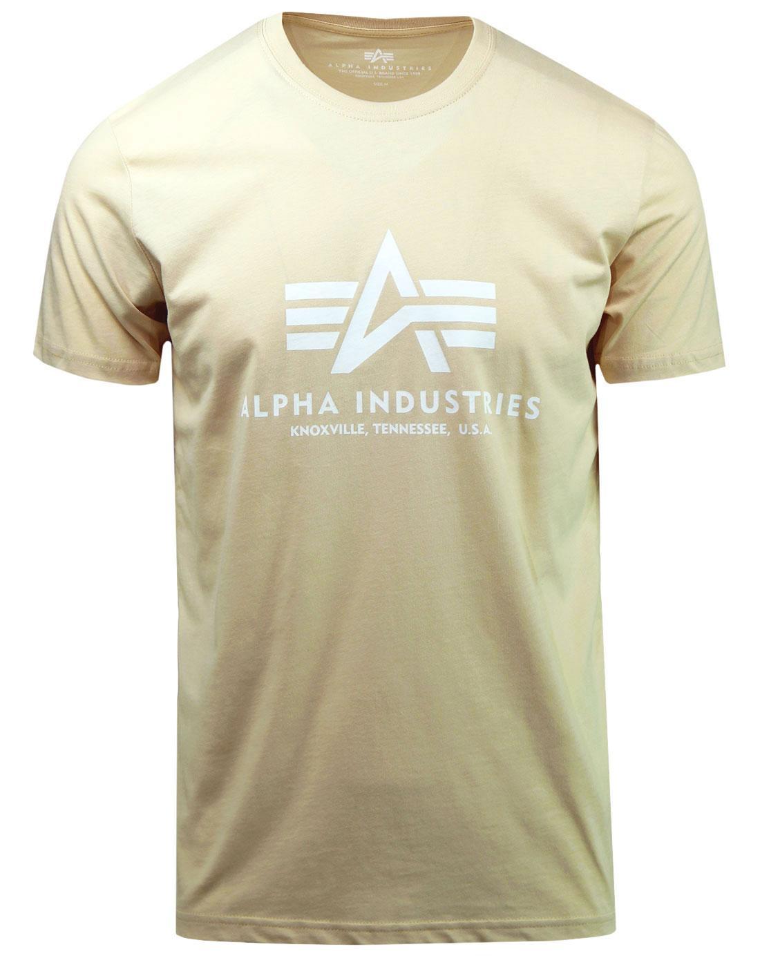 ALPHA INDUSTRIES Mens Retro Basic Logo Tee CARAMEL