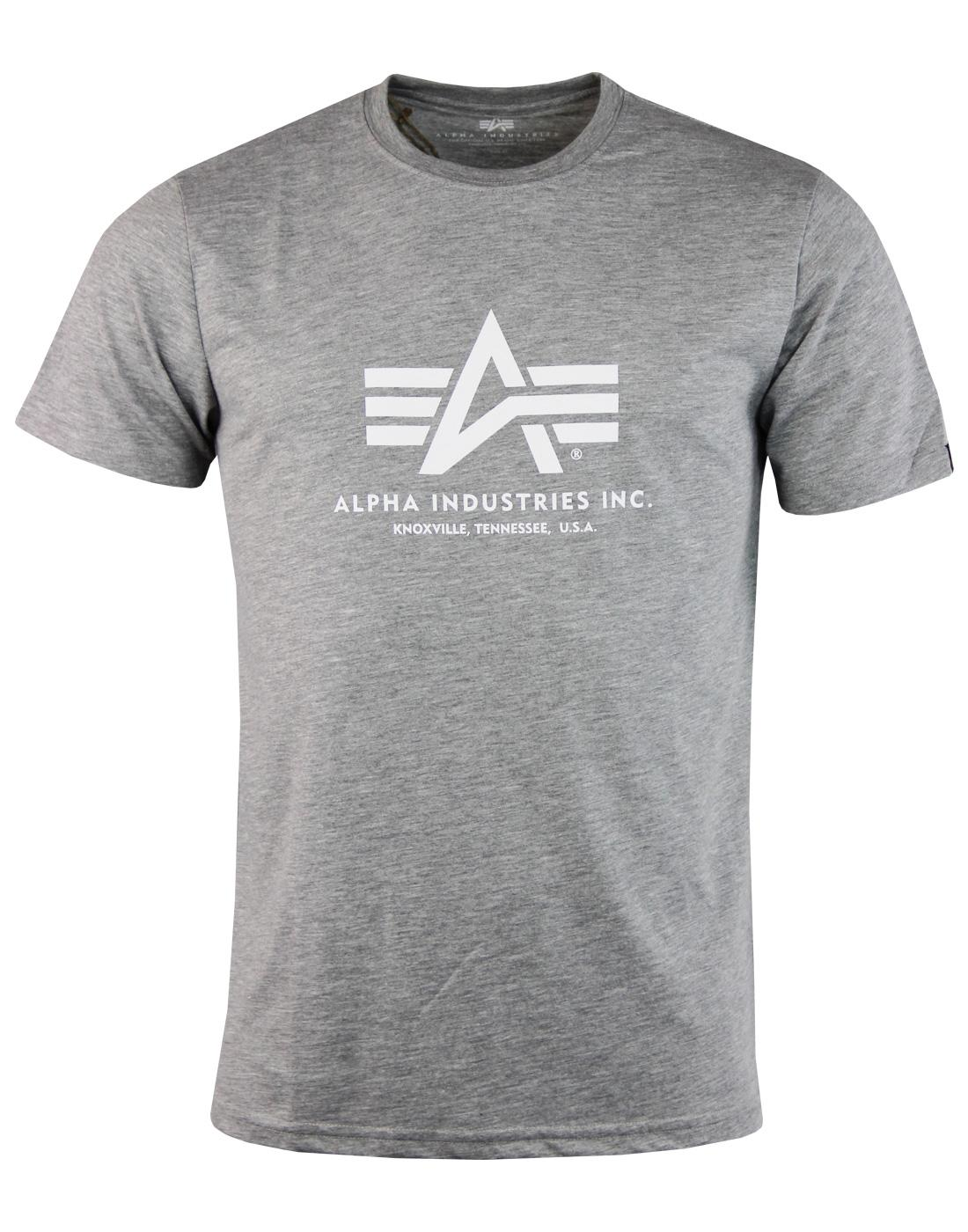 ALPHA INDUSTRIES Men's Retro Basic Logo Tee - Grey