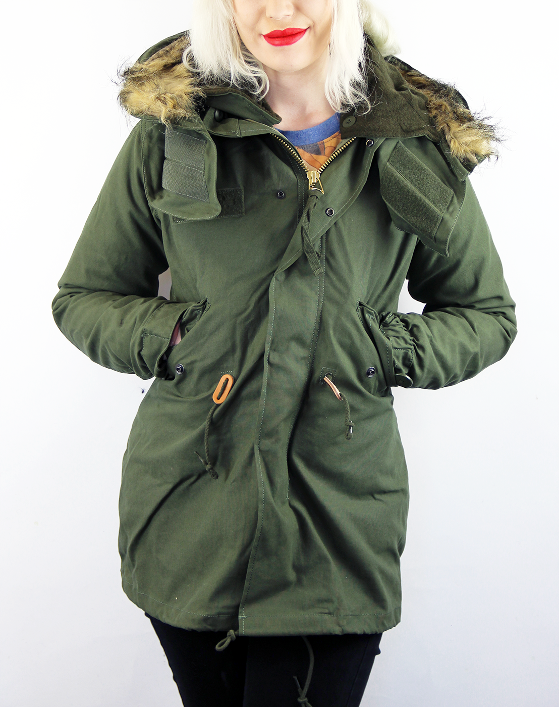 Alpha Industries Womens Vintage Fishtail M65 Parka in Olive d8eb88e9d62f
