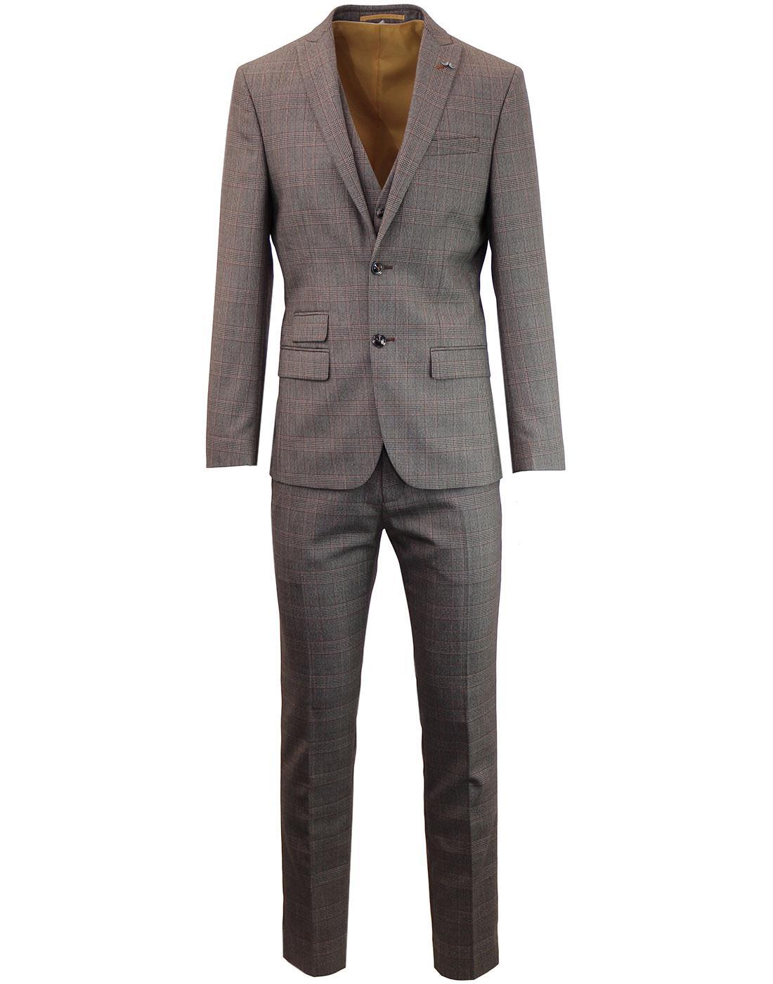 ANTIQUE ROGUE Mod 2 Button POW Check Suit Blazer Fawn