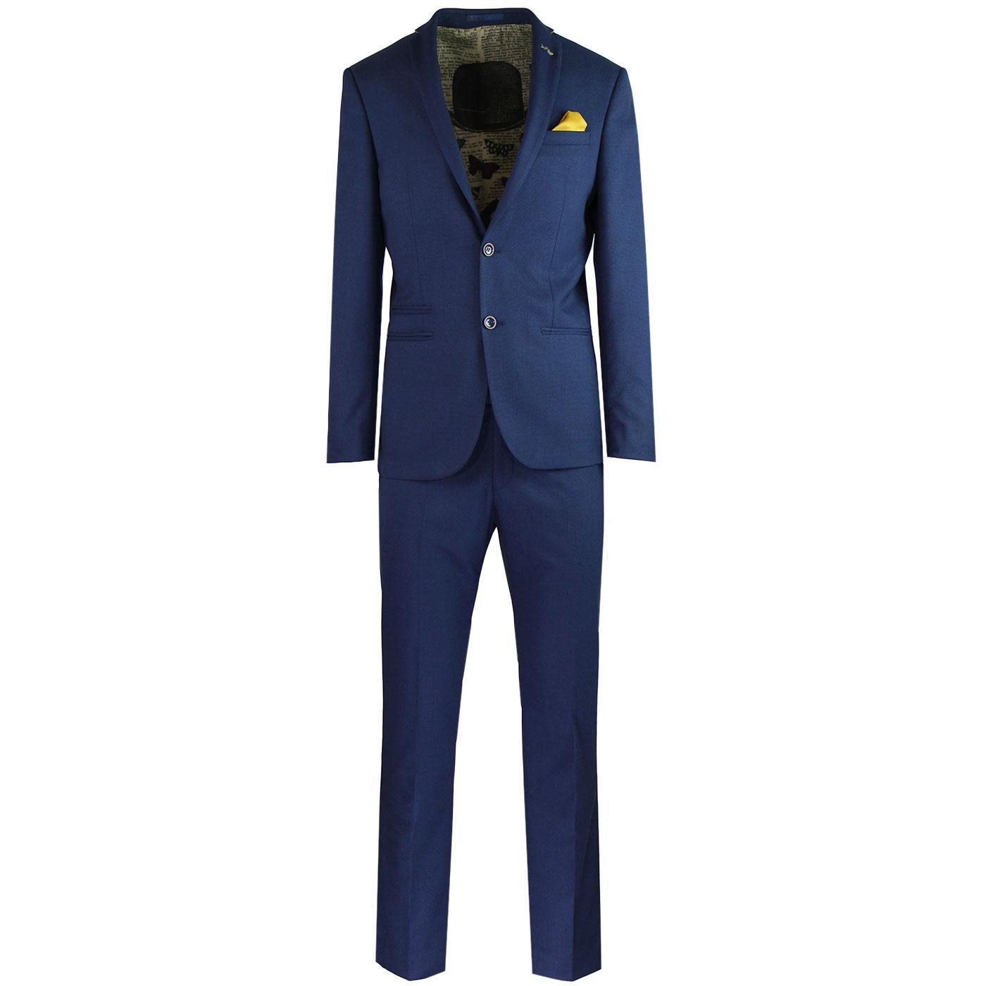 ANTIQUE ROGUE 60s Mod 2 Button Hopsack Suit - Blue