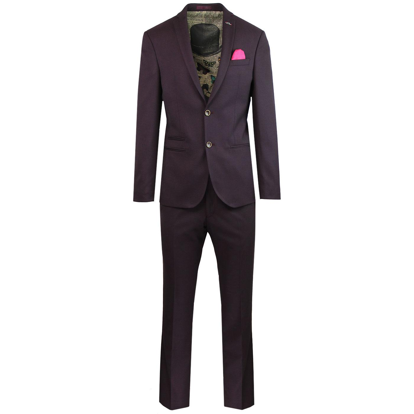 ANTIQUE ROGUE 2 Piece Mod Hopsack Suit in Burgundy