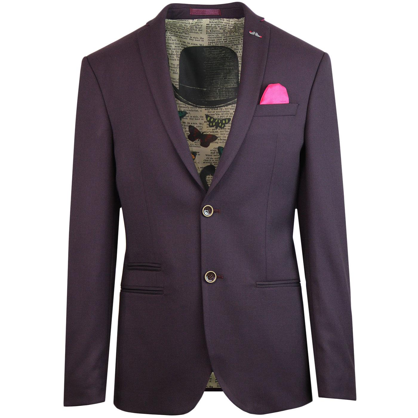 ANTIQUE ROGUE Mod Hopsack Suit Jacket (Burgundy)