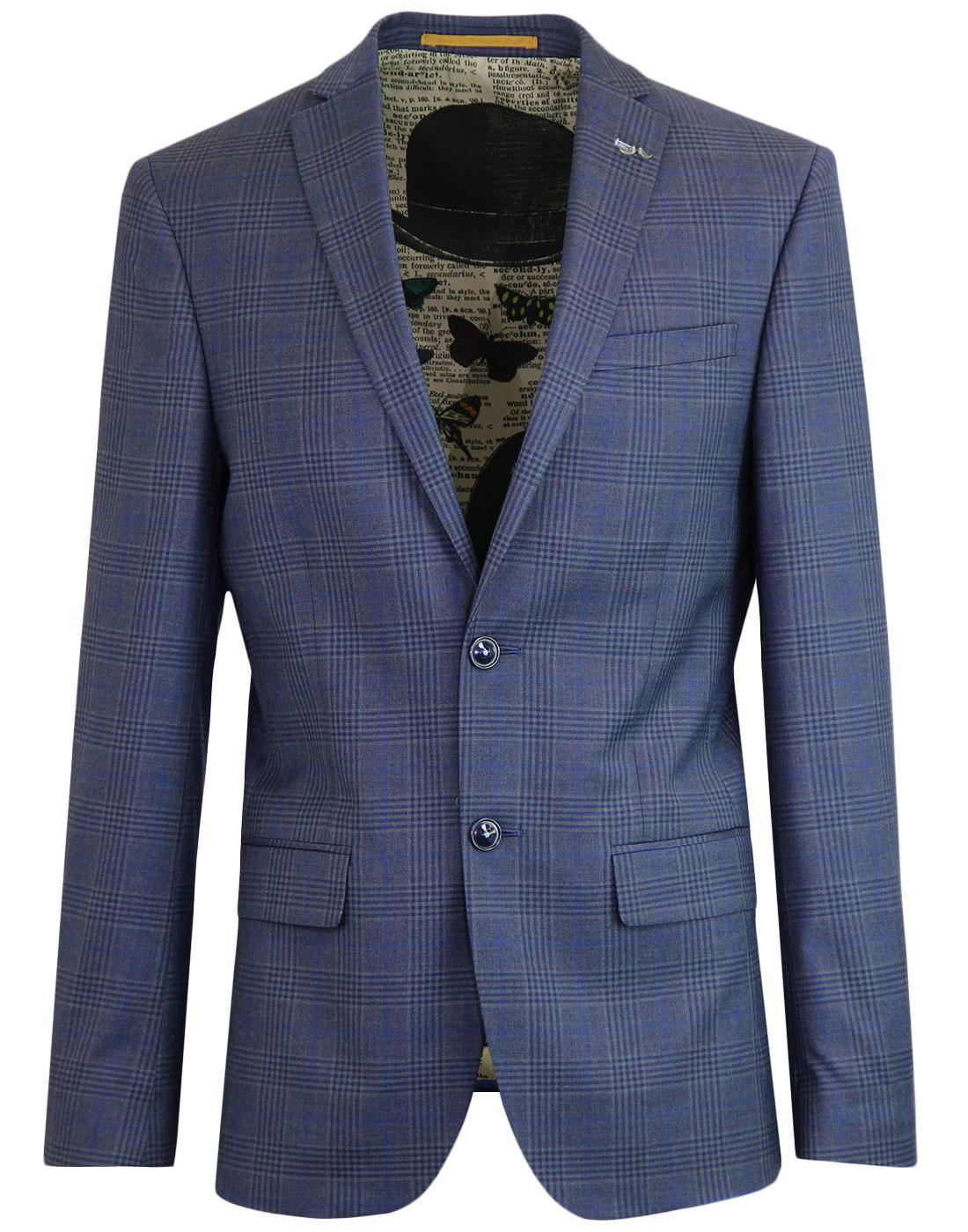 ANTIQUE ROGUE Retro Mod Check Blazer Jacket BLUE