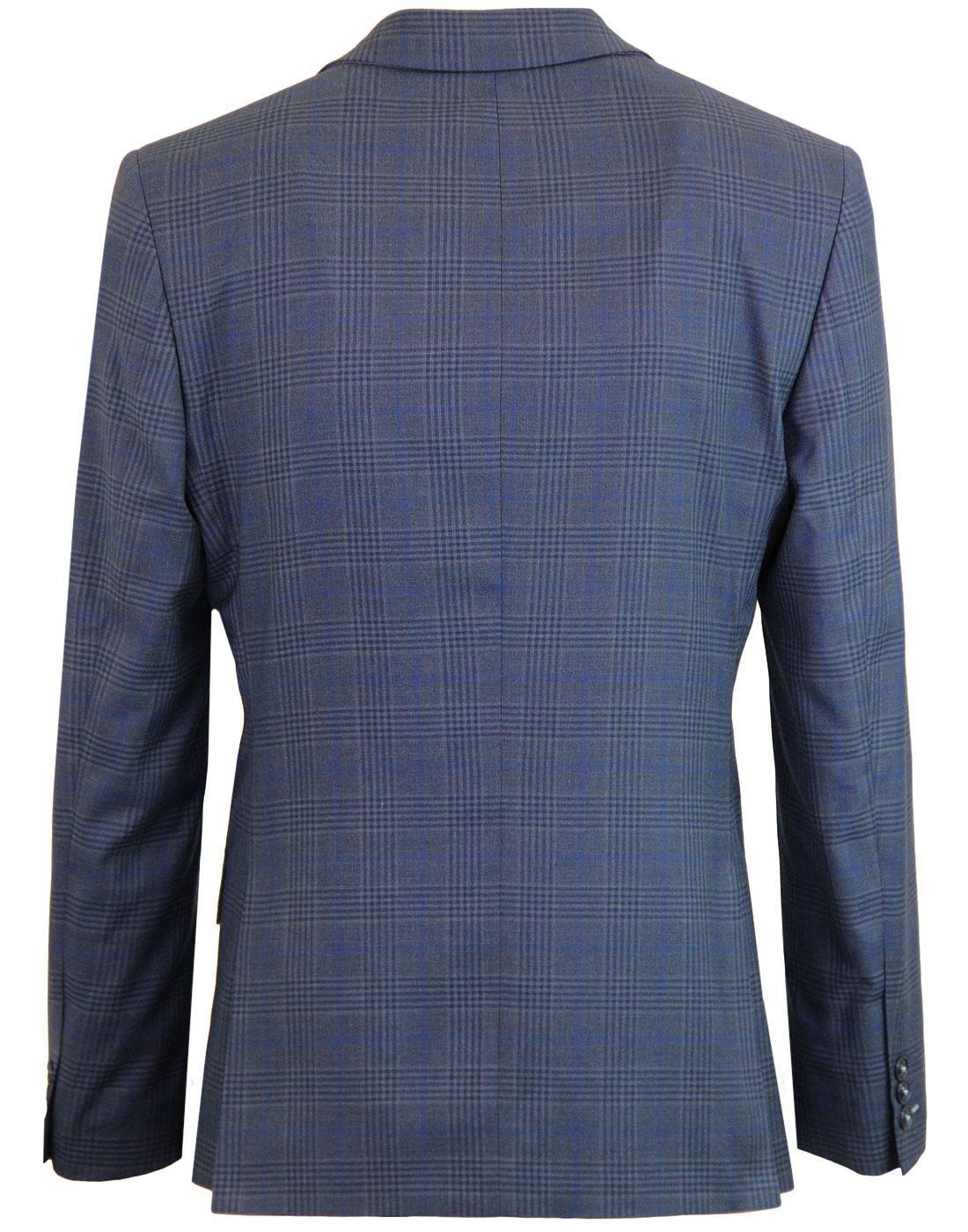 ANTIQUE ROGUE Retro 60s Mod Check Blazer Jacket in Blue