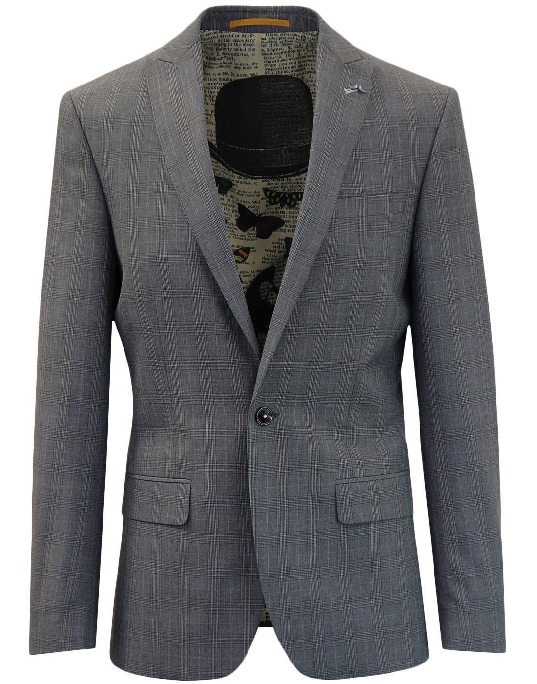ANTIQUE ROGUE 1 Button POW Check Suit Jacket GREY