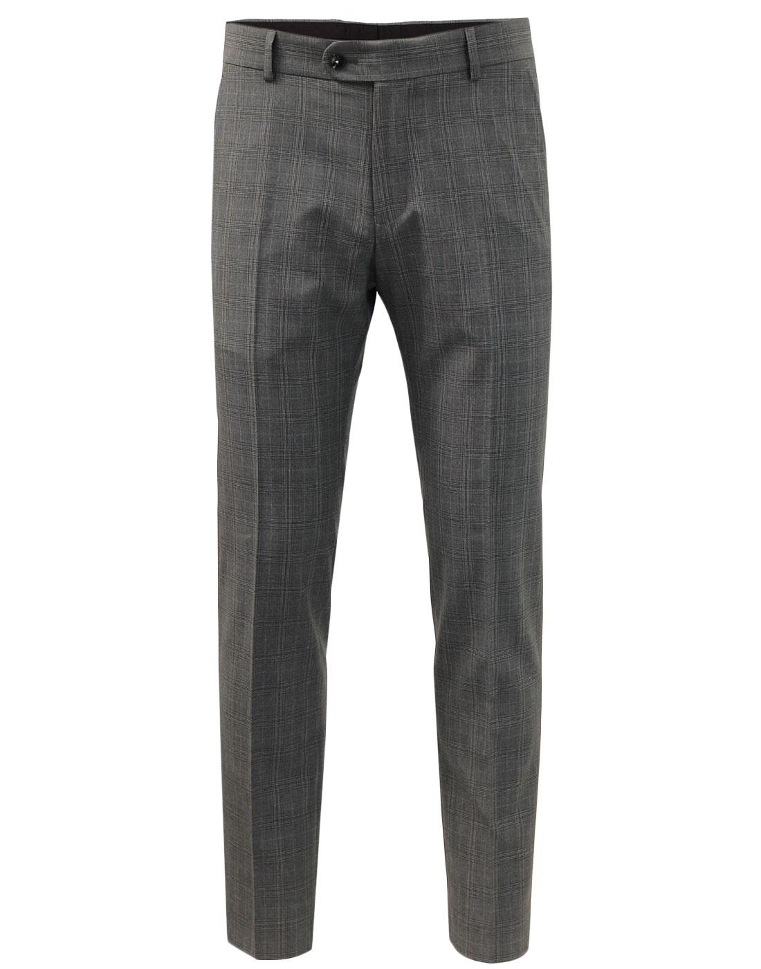 ANTIQUE ROGUE Retro POW Check Suit Trousers GREY