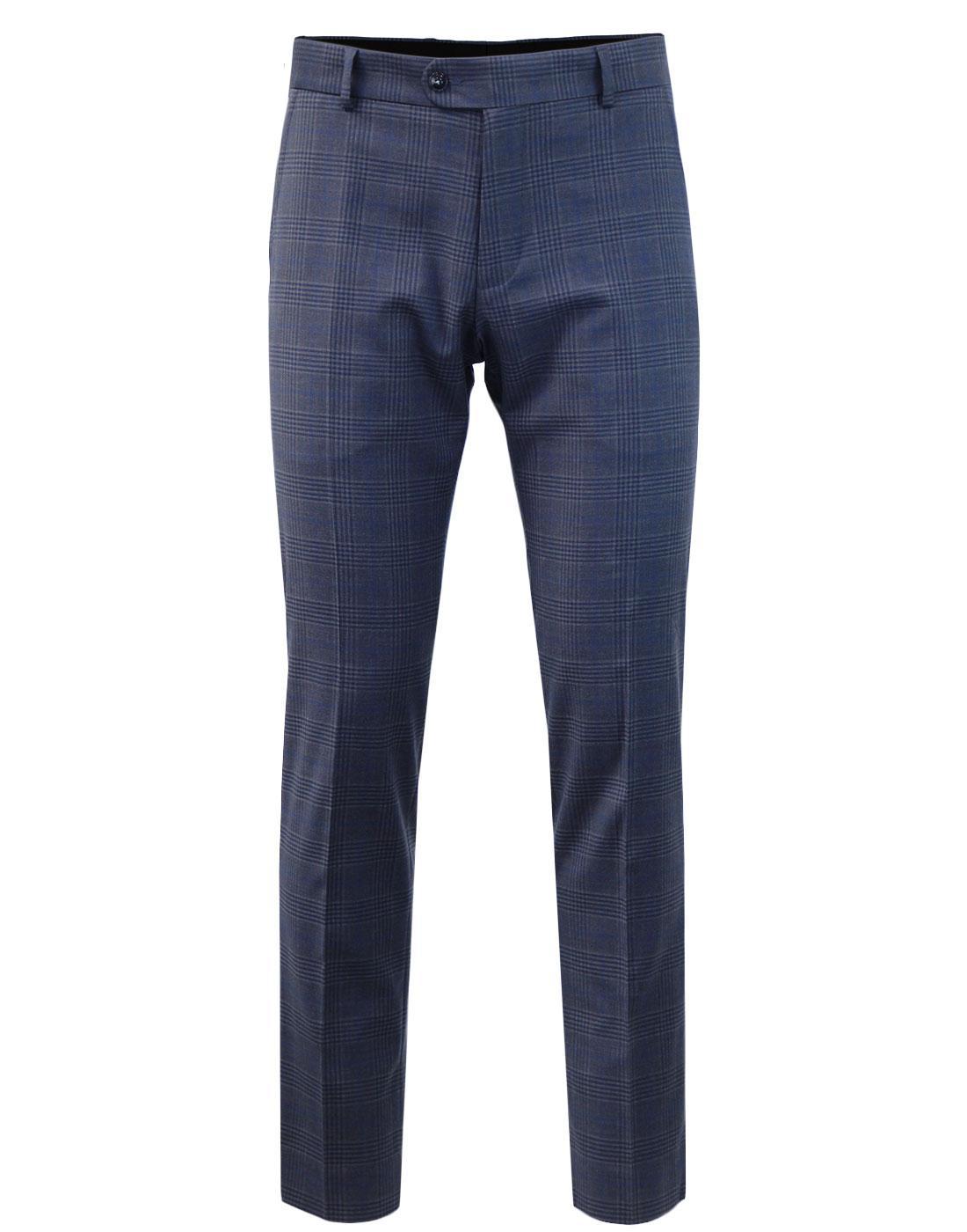 ANTIQUE ROGUE Retro Mod Check Suit Trousers NAVY