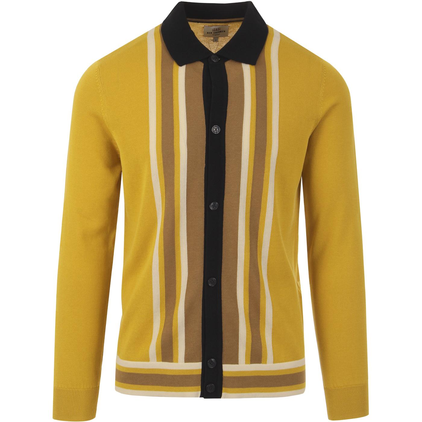 BEN SHERMAN Mod Button Through Polo Cardigan D