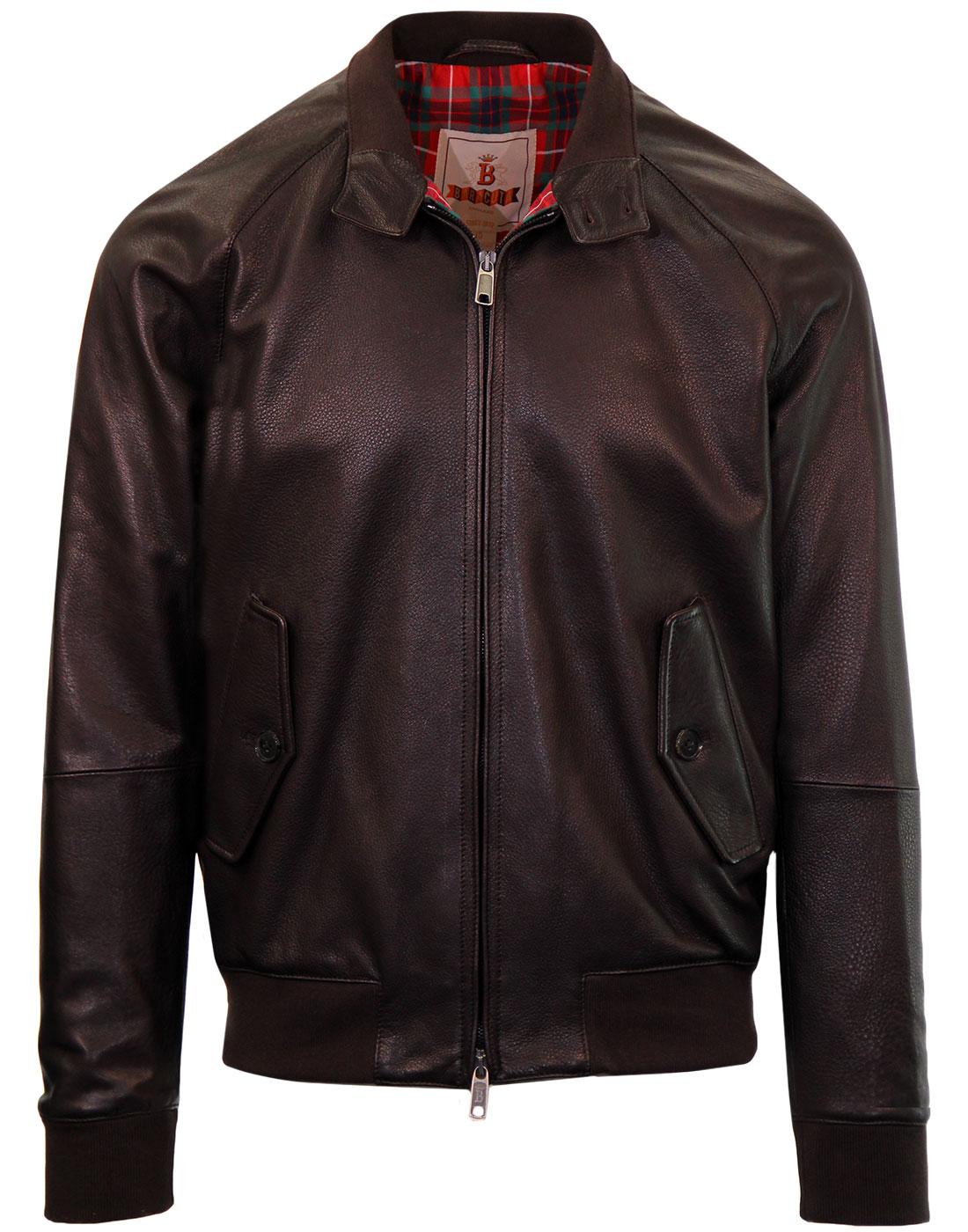BARACUTA G9 Italian Leather Harrington Jacket (DB)
