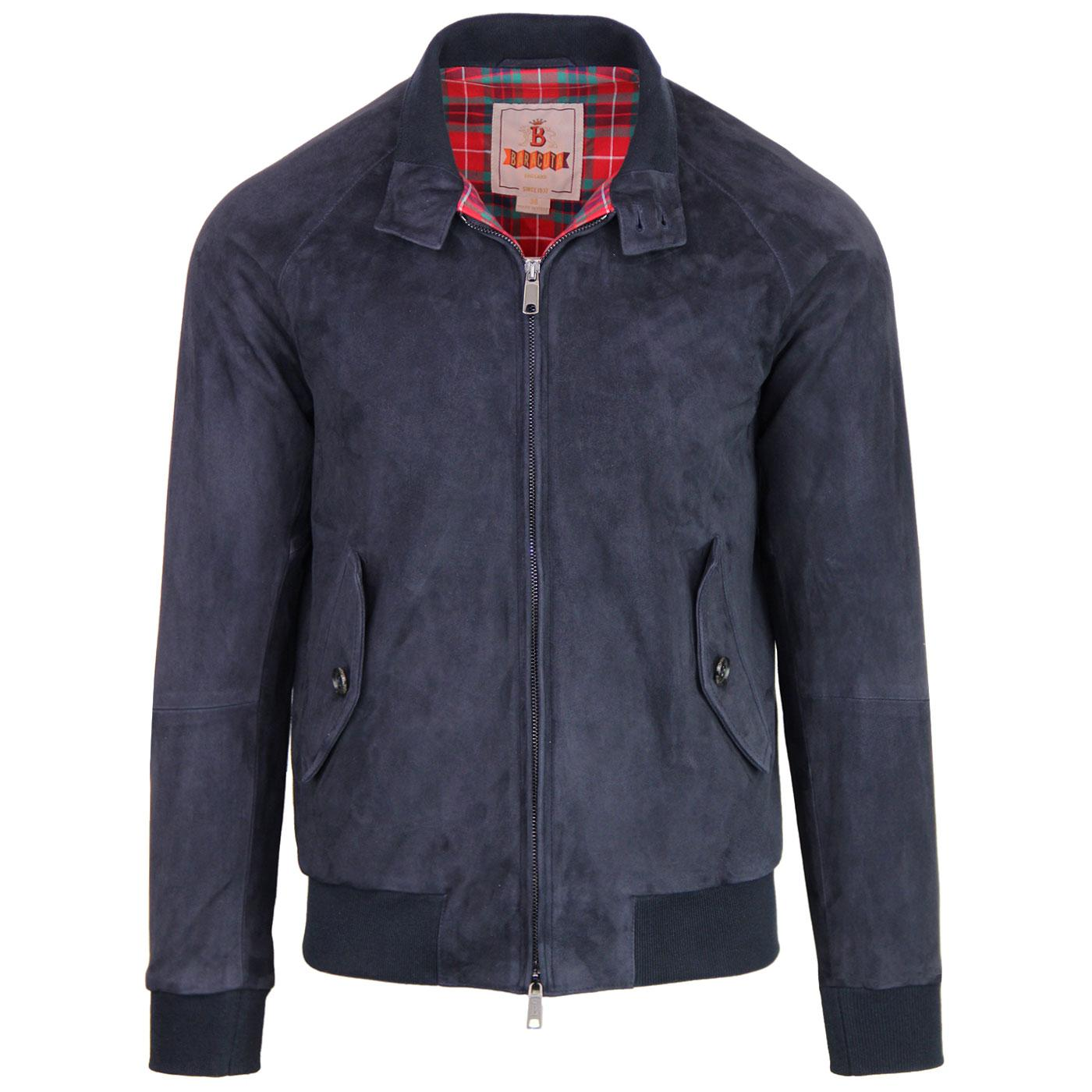 BARACUTA G9 Suede Mod Harrington Jacket DEEP BLUE