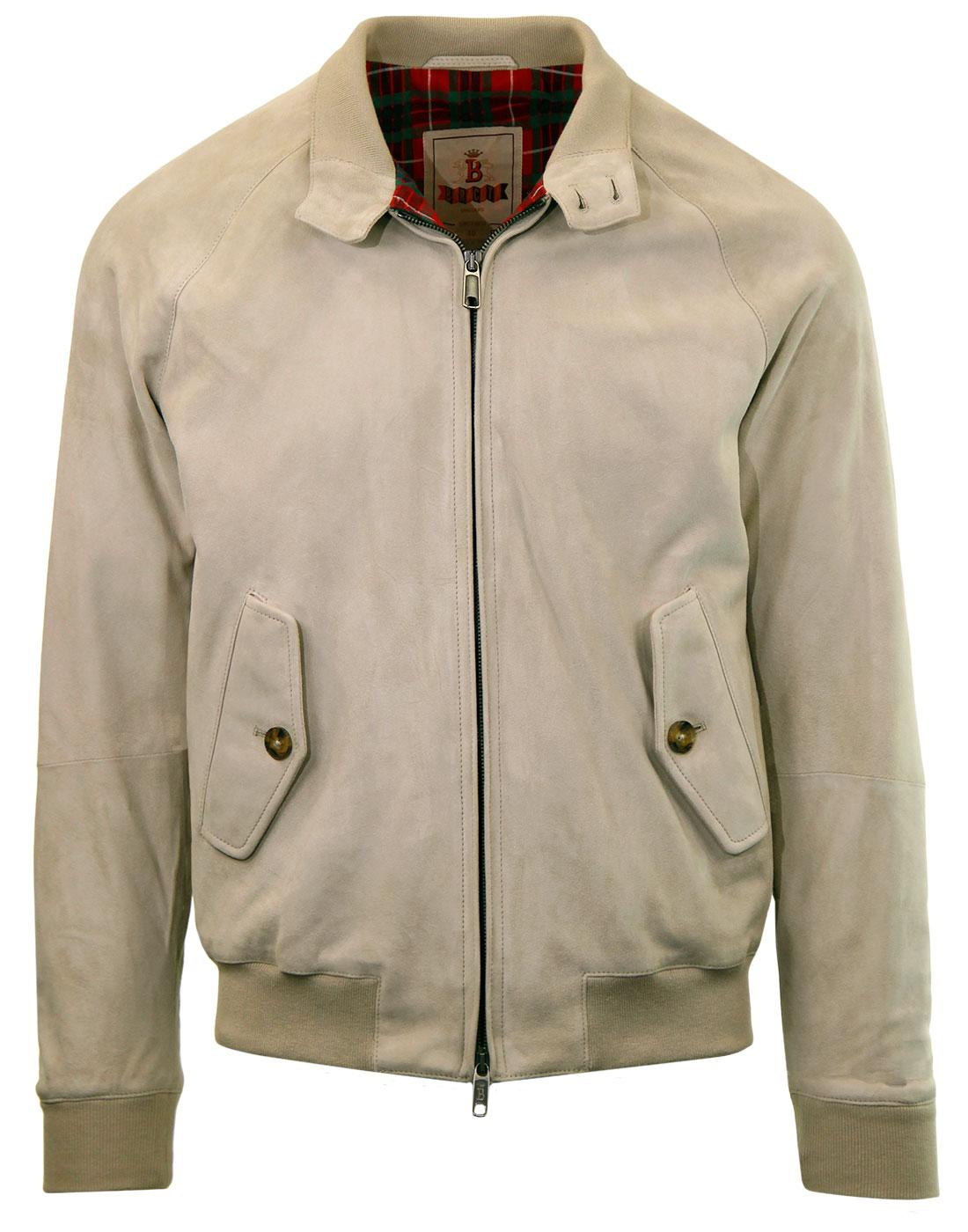 BARACUTA G9 Suede Mod Harrington Jacket STONE
