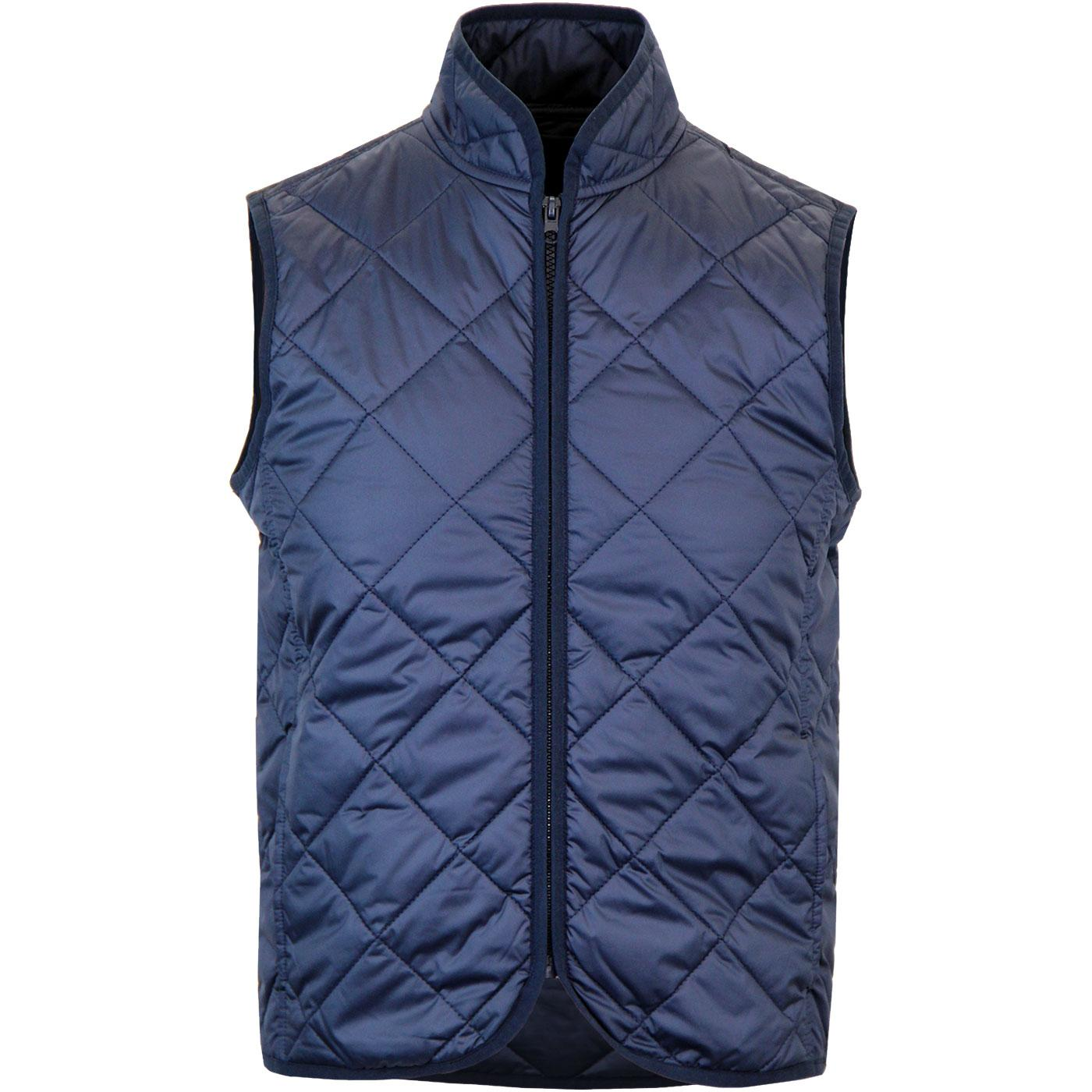 7a79dd10e7 BARACUTA Men s Retro Quilted Gilet Jacket in Navy