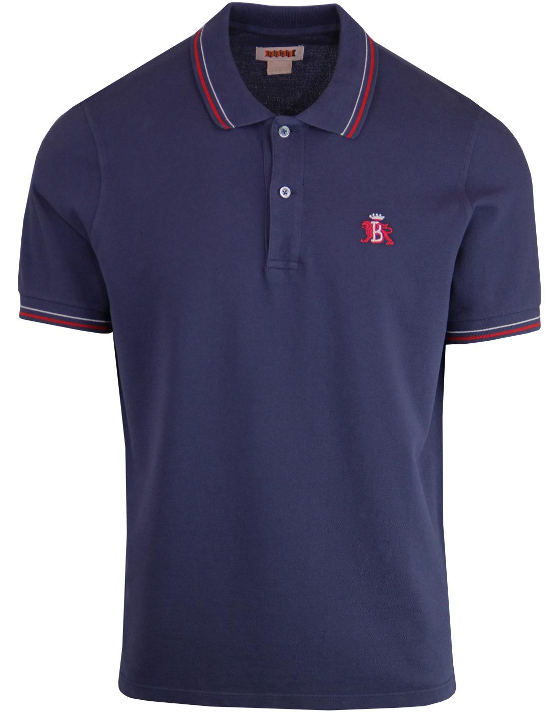 BARACUTA Made in Italy Tipped Varsity Pique Polo N