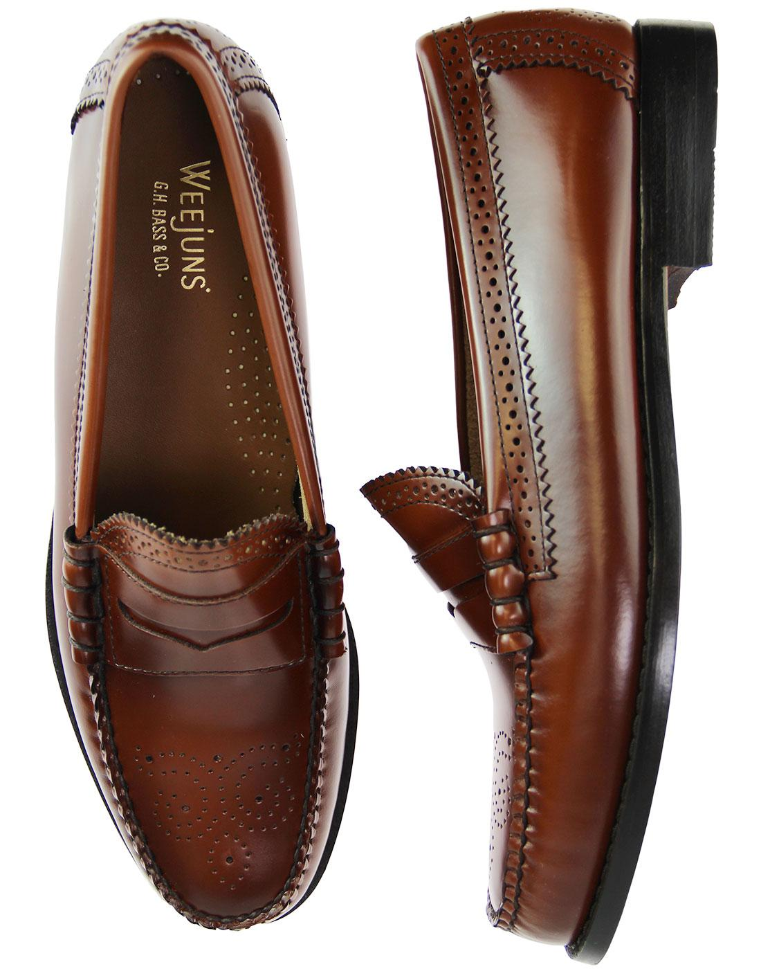 76e7dcee066 BASS WEEJUNS Larson Brogue Penny Loafers in Mid Brown