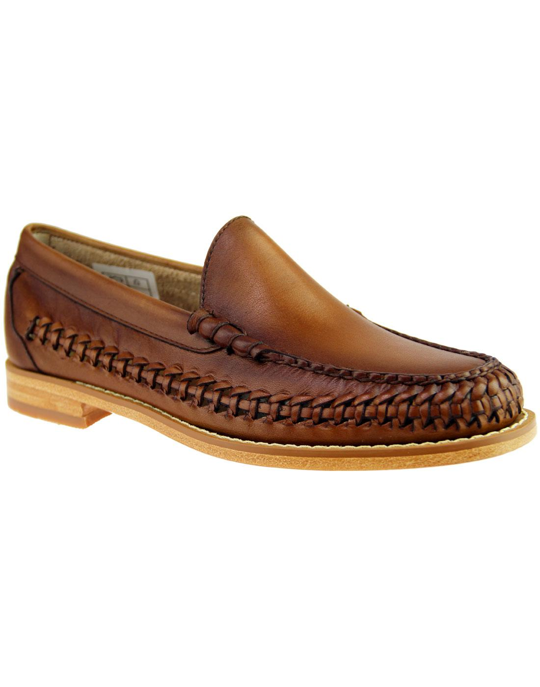 BASS WEEJUNS Venetian Weave Retro Mod Loafers TAN
