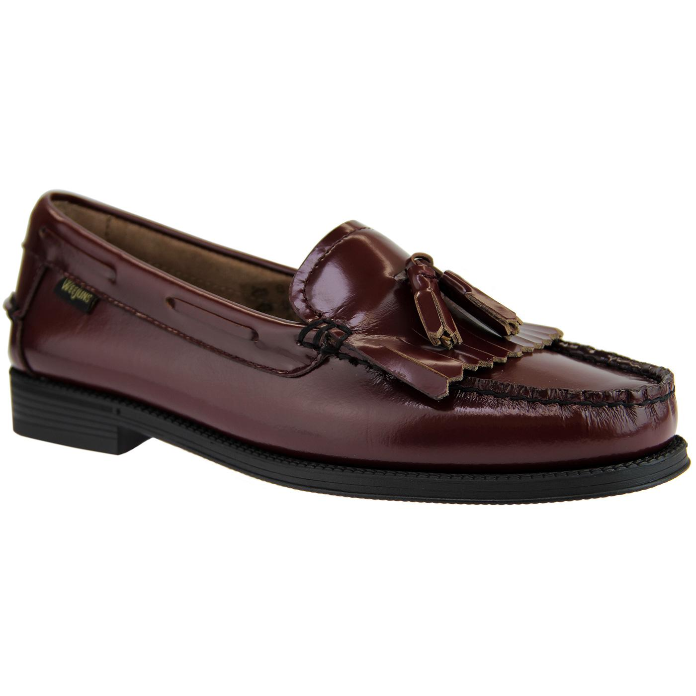 Esther BASS WEEJUNS Women's Tassel Loafers WINE