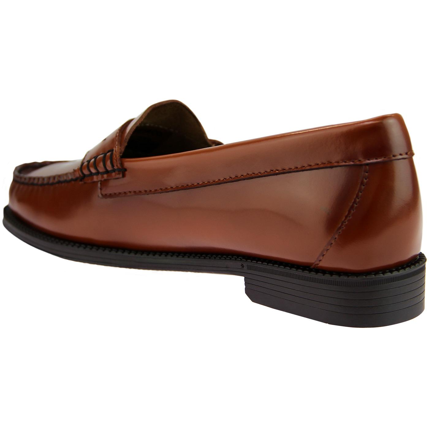 BASS WEEJUNS Women's 60's Penny Loafers in Cognac