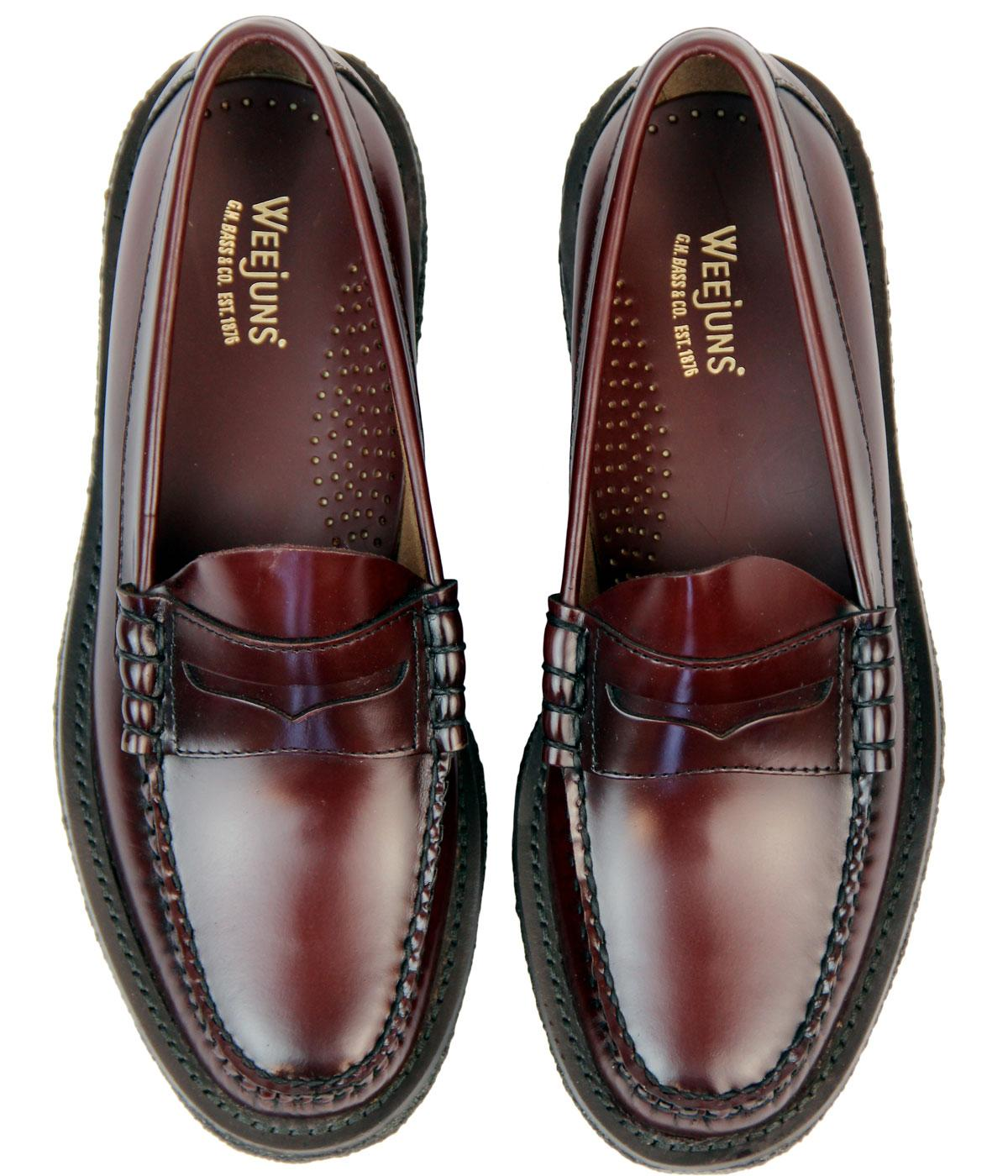 BASS WEEJUNS Larson Mod Crepe Sole Penny Loafer Shoes in Wine