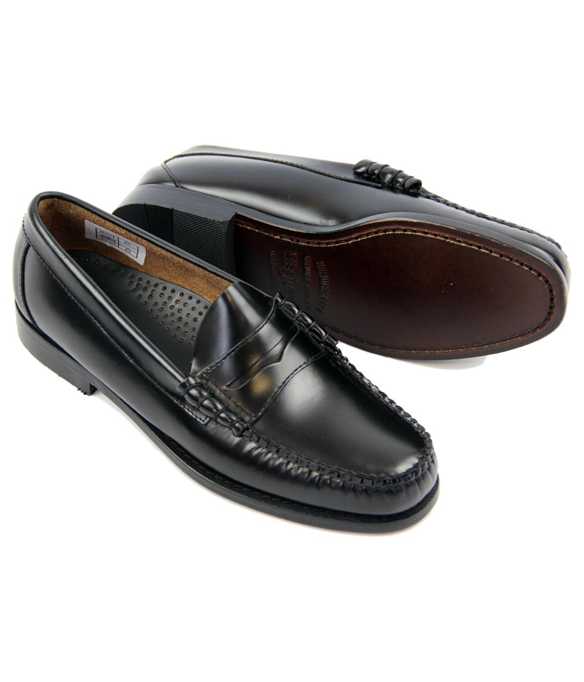 BASS WEEJUNS Larson Retro Mod Penny Loafer Shoes in Black ...