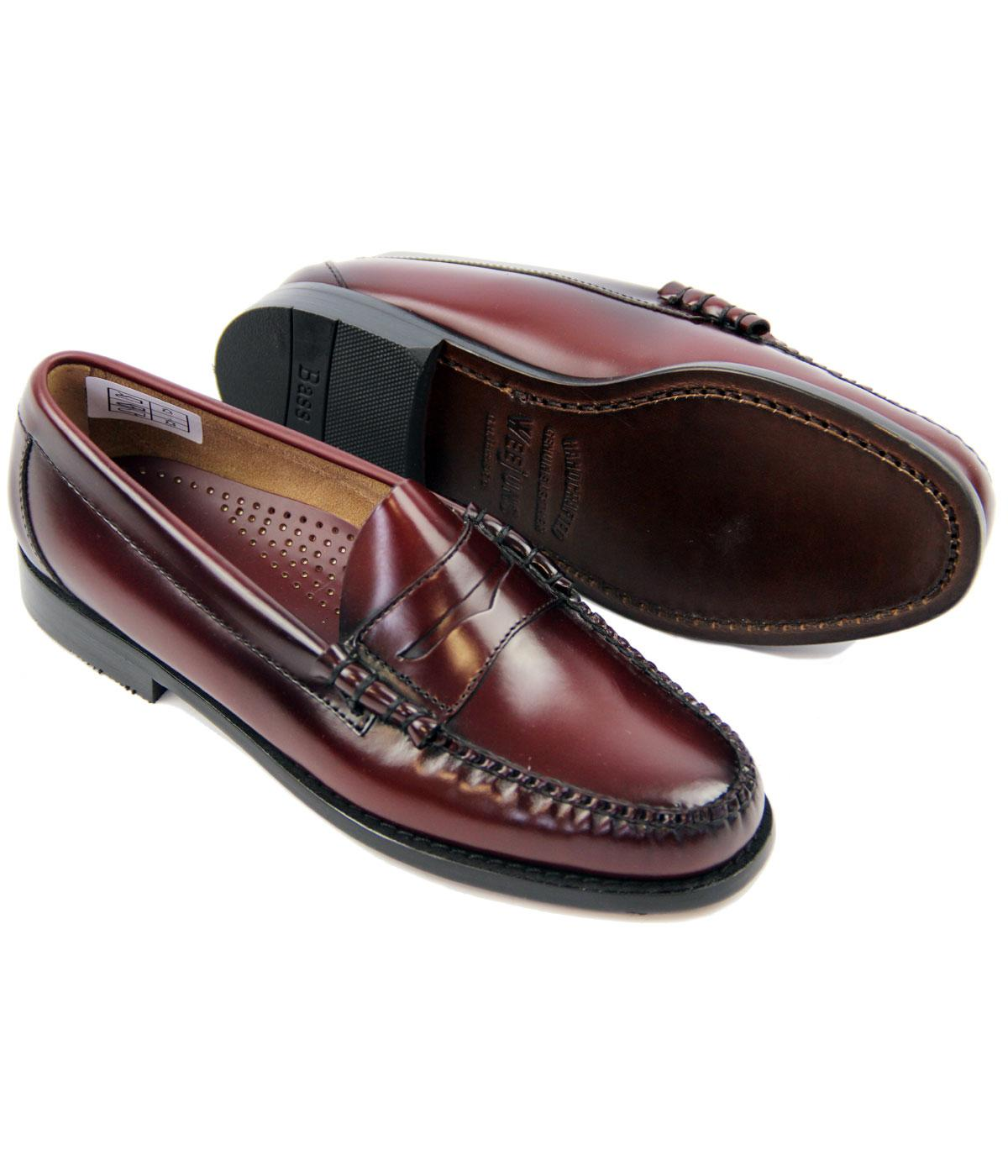 BASS WEEJUNS Larson Retro Mod Penny Loafer Shoes in Wine ...