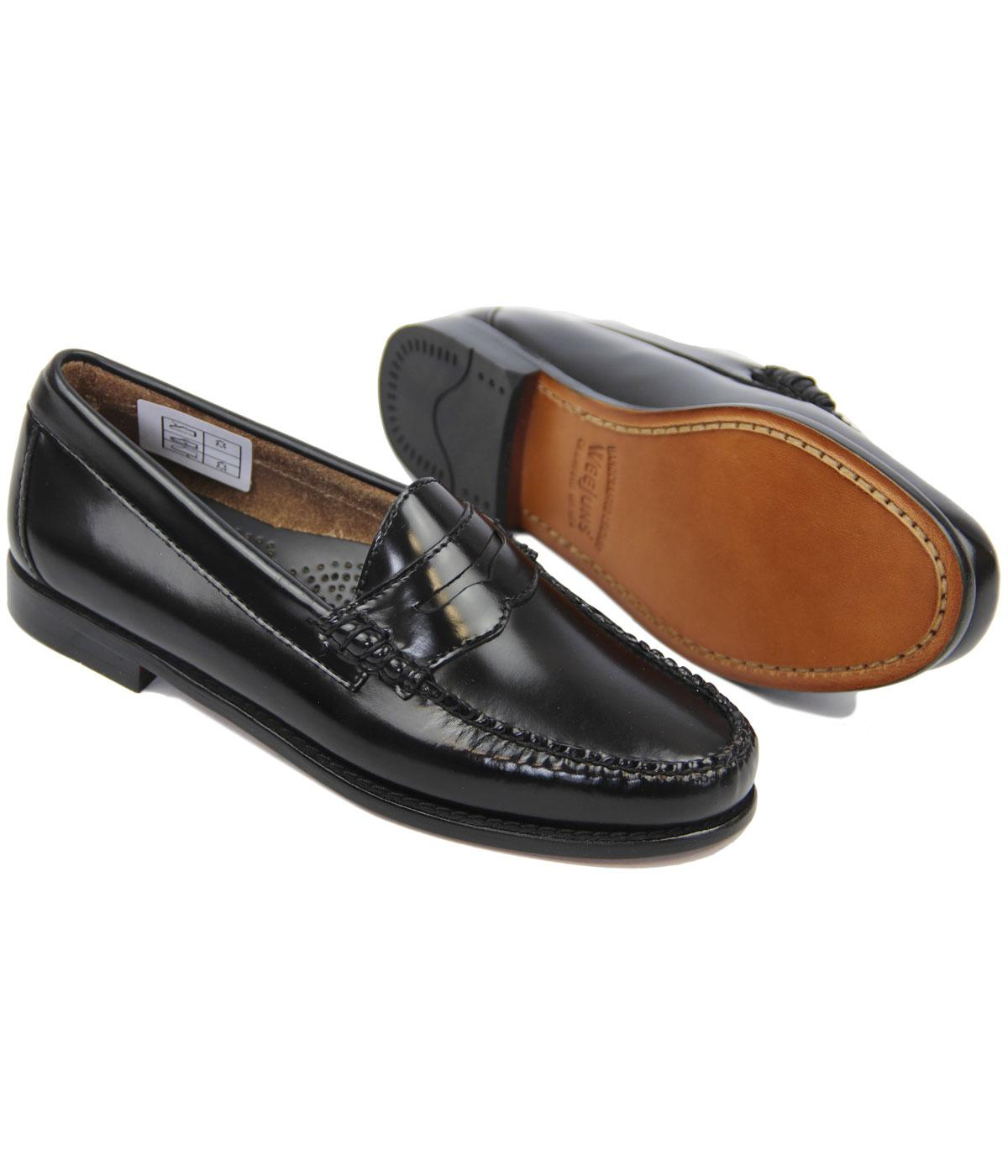 BASS WEEJUNS Womens Retro 60s Mod Black Leather Penny Loafers